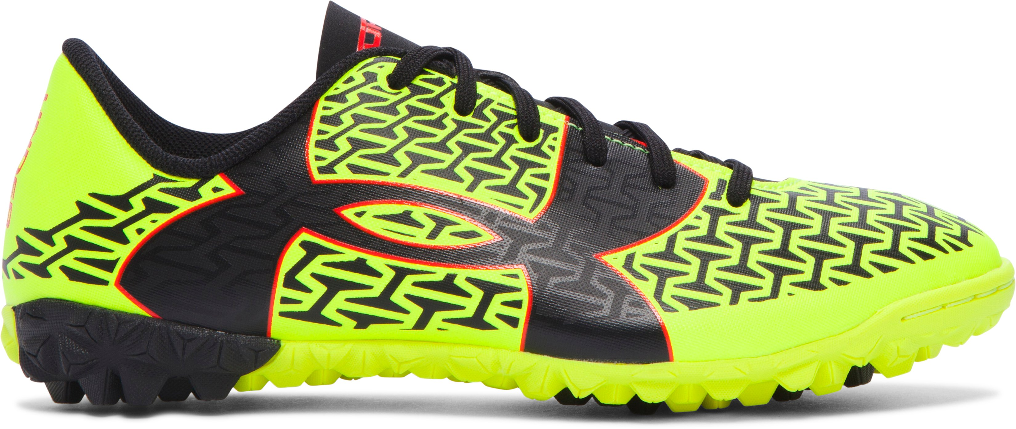 Boys' UA ClutchFit™ Force 2.0 TR Jr. Soccer Shoes, High-Vis Yellow, zoomed image