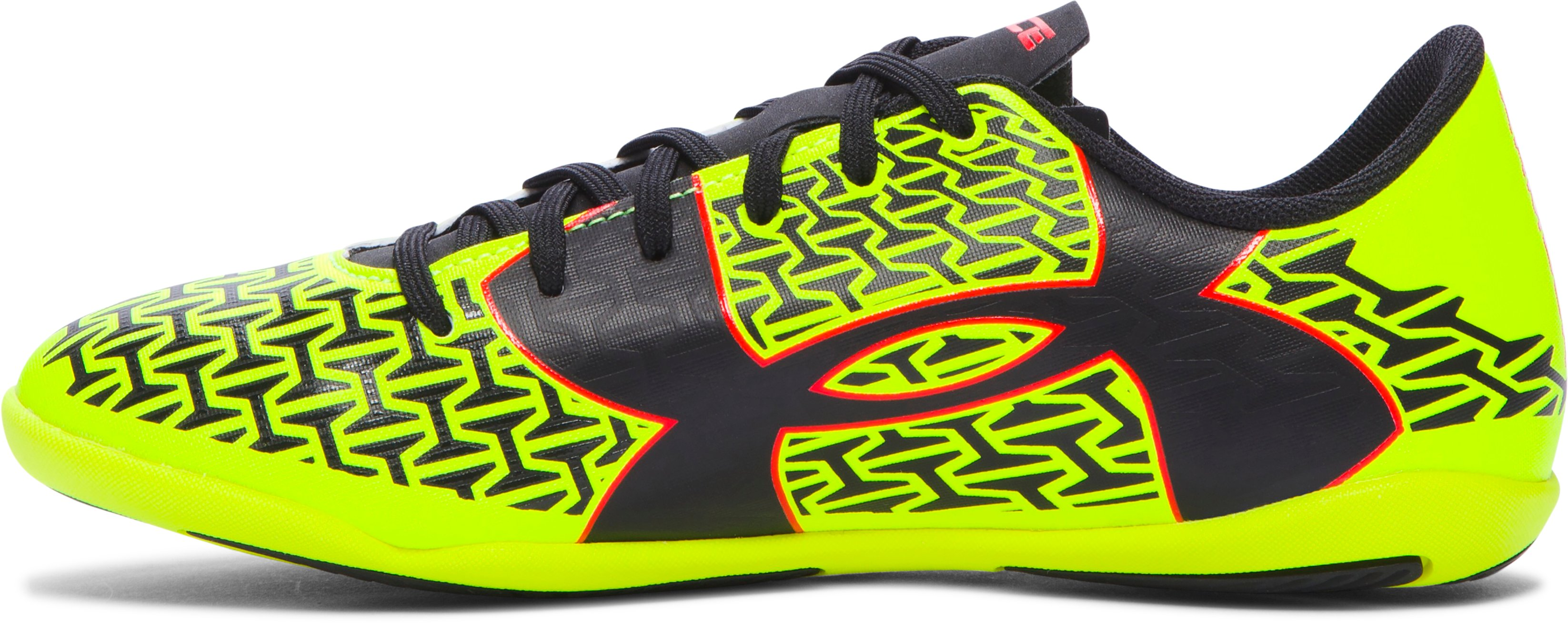 Boys' UA ClutchFit™ Force 2.0 ID Jr. Soccer Shoes, High-Vis Yellow