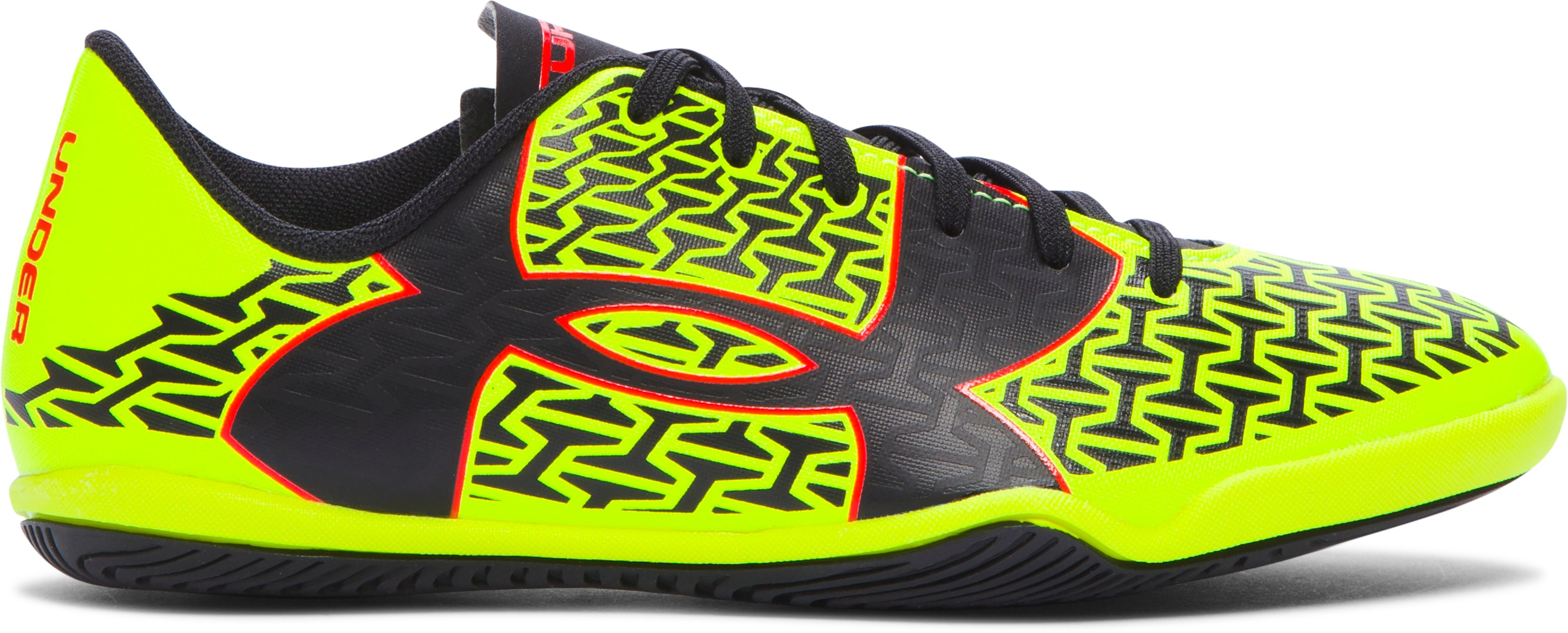 Boys' UA ClutchFit™ Force 2.0 ID Jr. Soccer Shoes, High-Vis Yellow, zoomed image