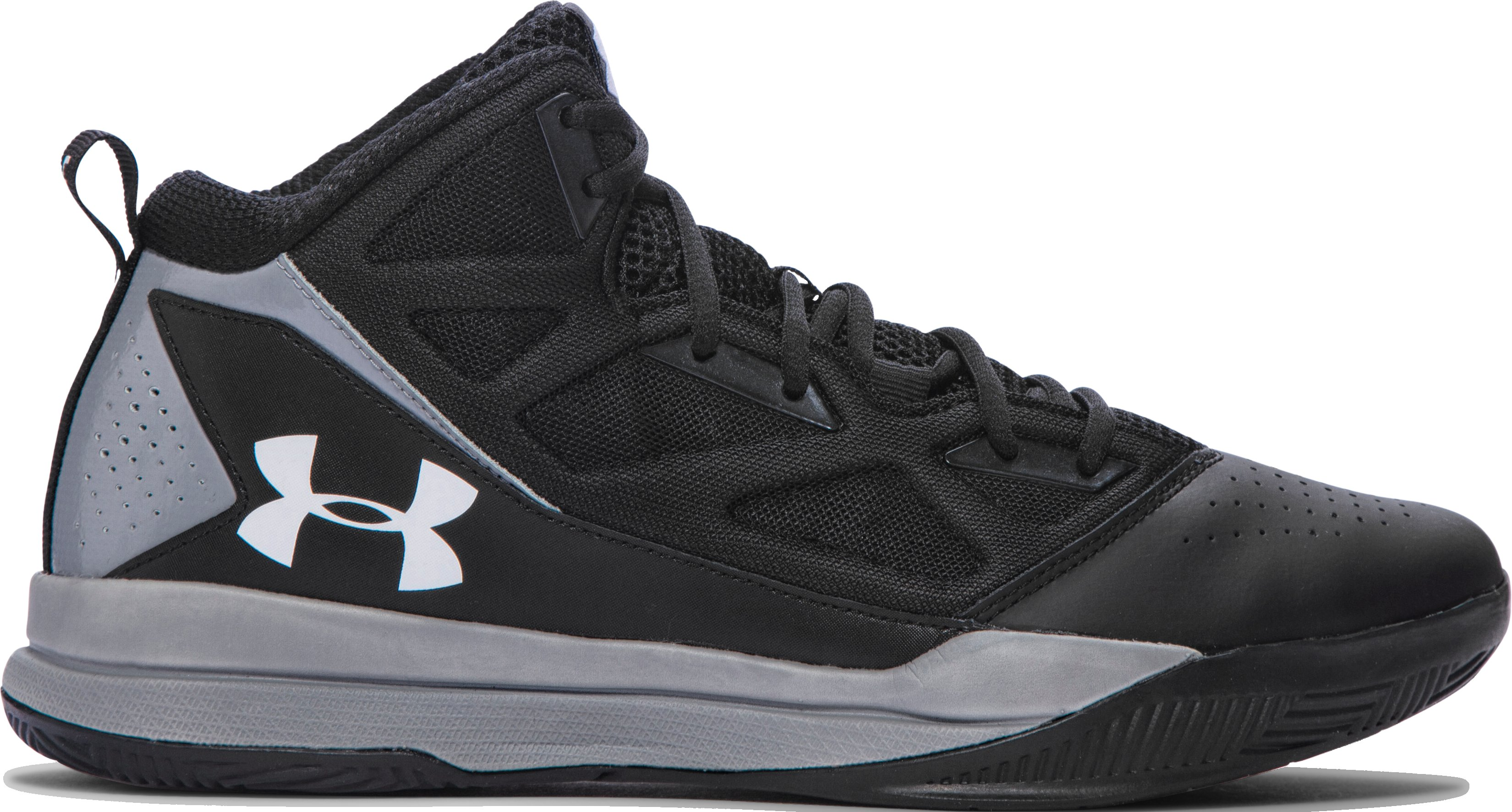 Men's UA Jet Mid Basketball Shoes, Black , zoomed image