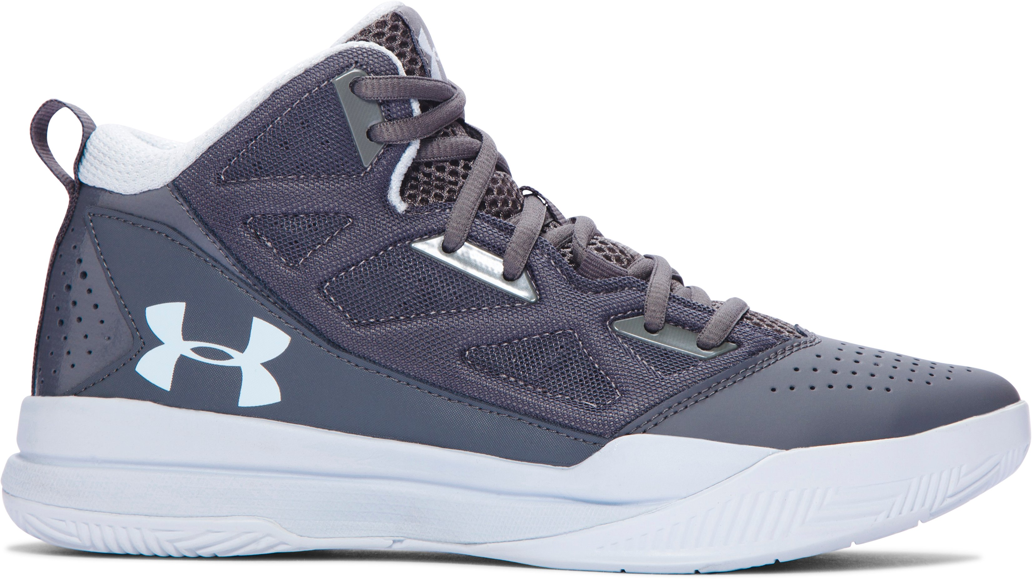 Women's UA Jet Mid Basketball Shoes, Graphite, zoomed image