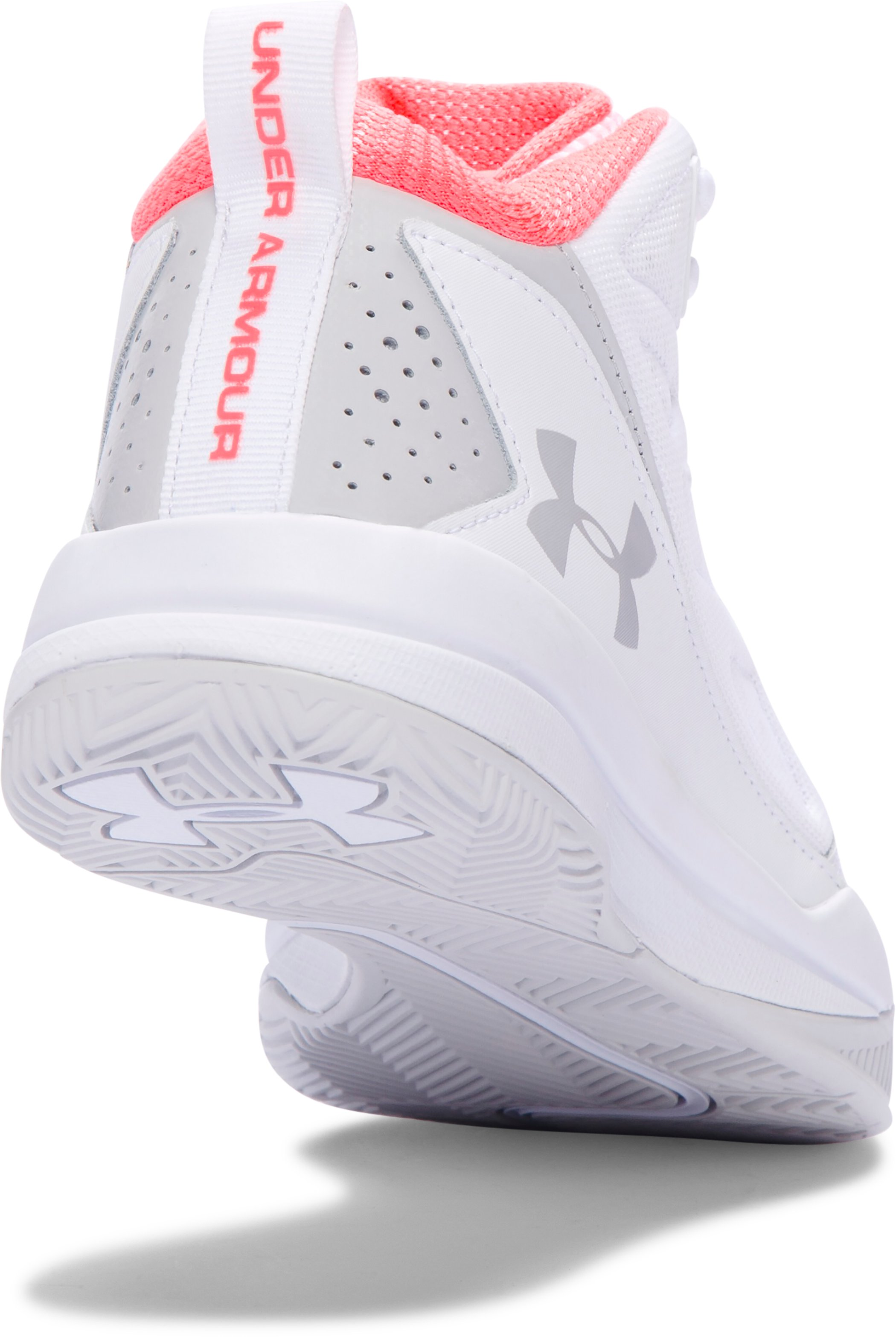 Women's UA Jet Mid Basketball Shoes, White, undefined