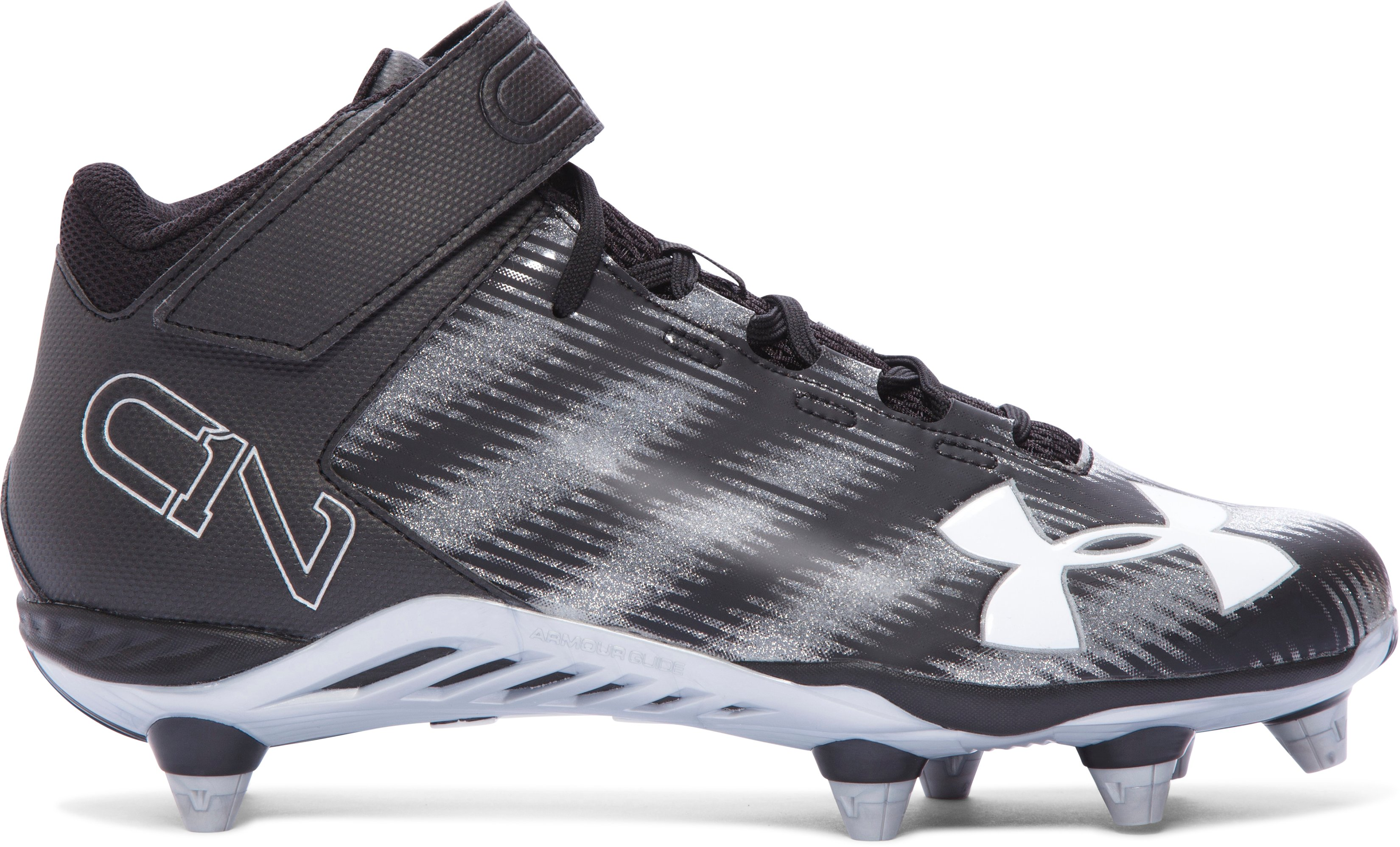 Men's UA C1N Mid D Football Cleats, Black
