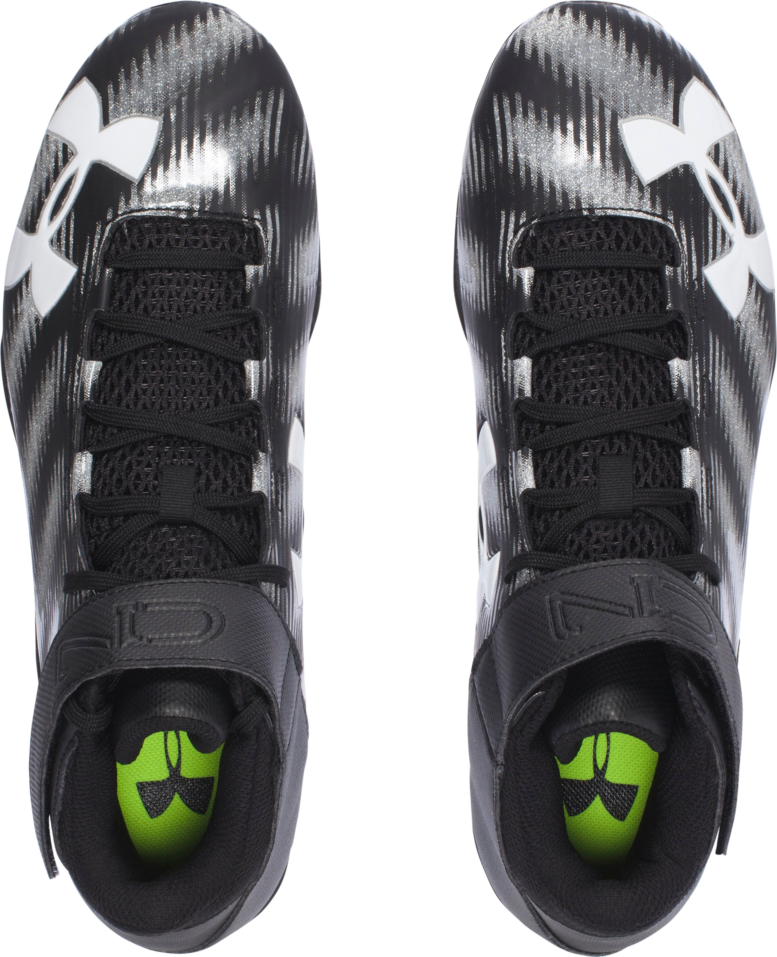 Men's UA C1N Mid D Football Cleats, Black ,