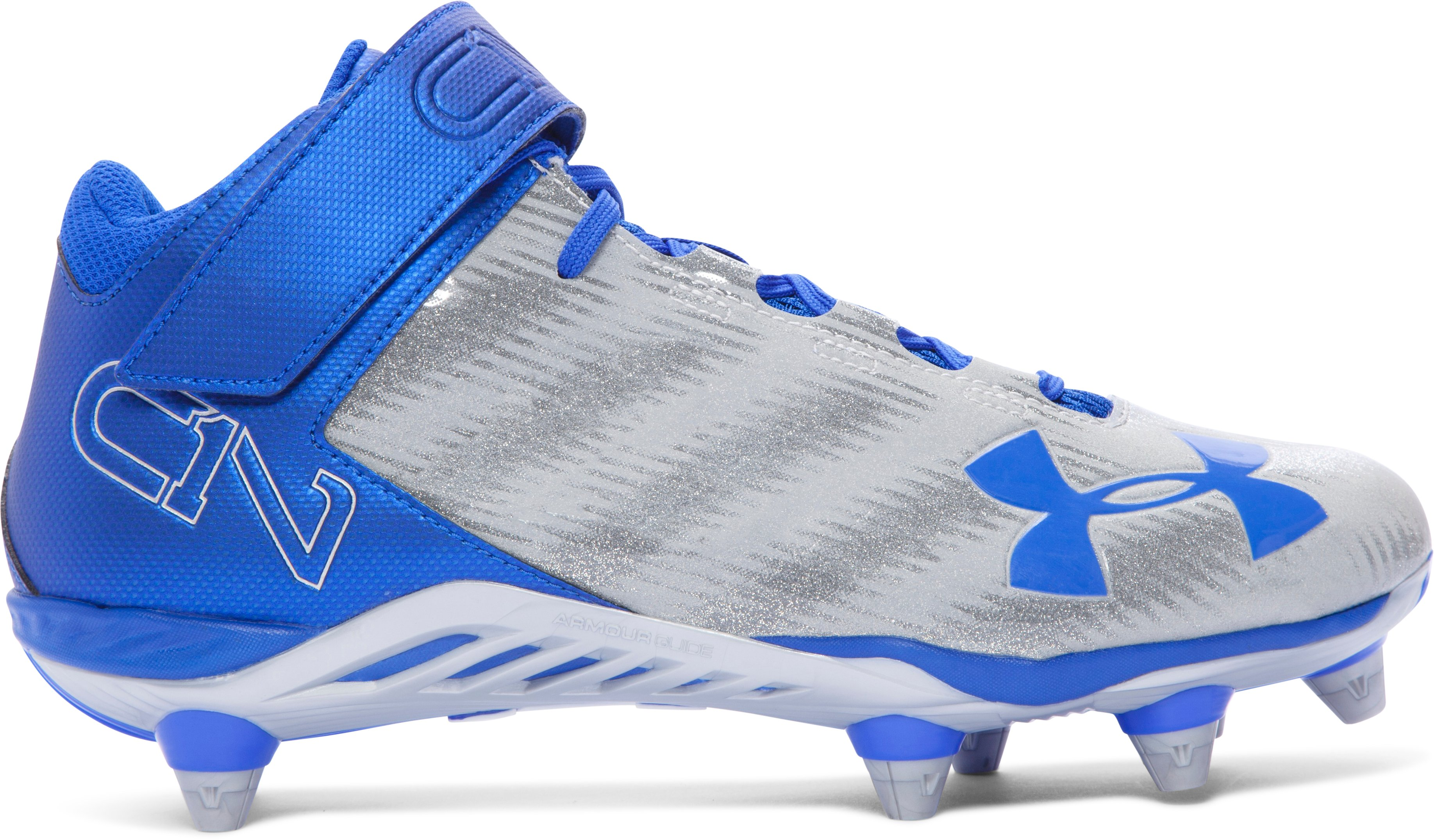 Men's UA C1N Mid D Football Cleats, TEAM ROYAL, zoomed image