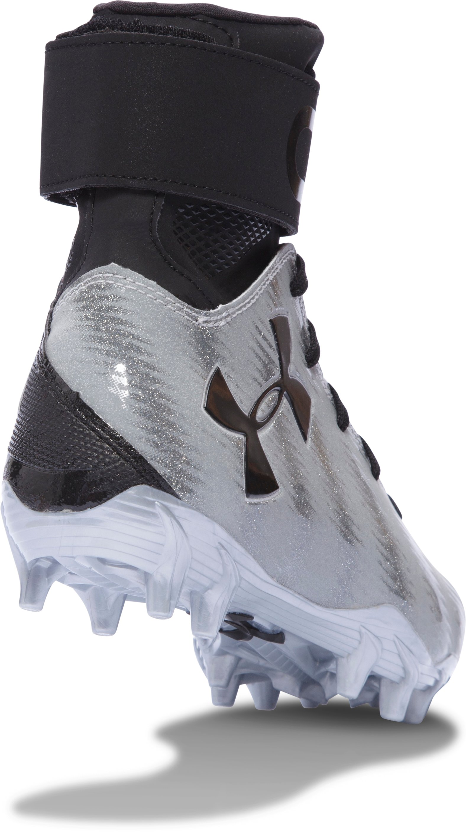 Boys' UA C1N MC Jr. Football Cleats, Metallic Silver