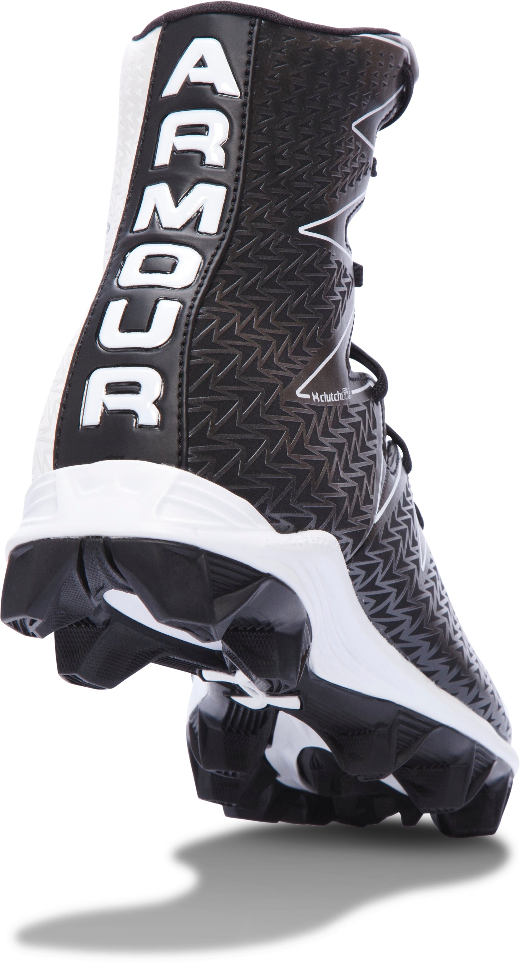 Boys' UA Highlight RM Jr. Football Cleats, Black ,