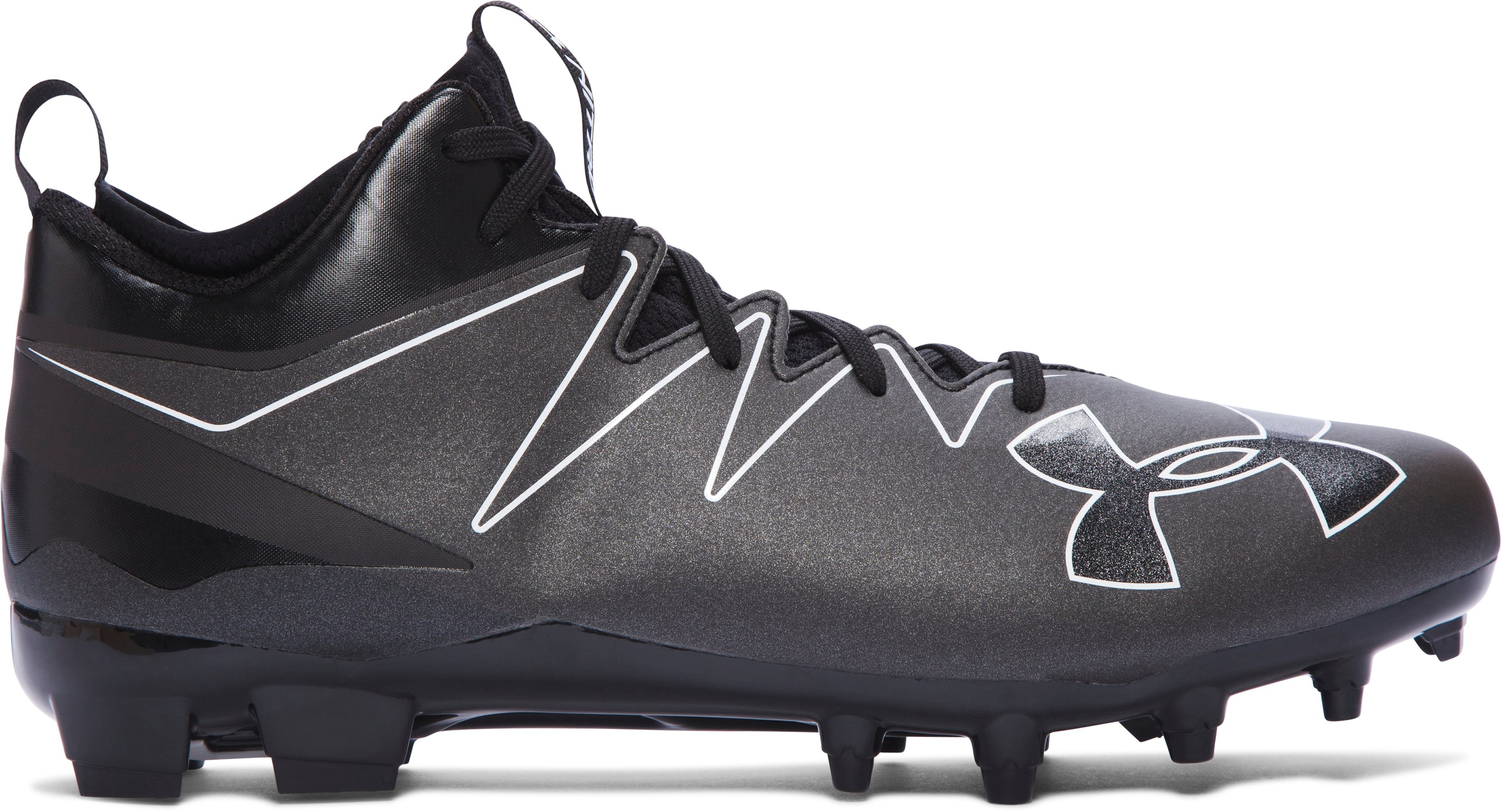 Men's UA Nitro Mid MC Football Cleats, Black , undefined