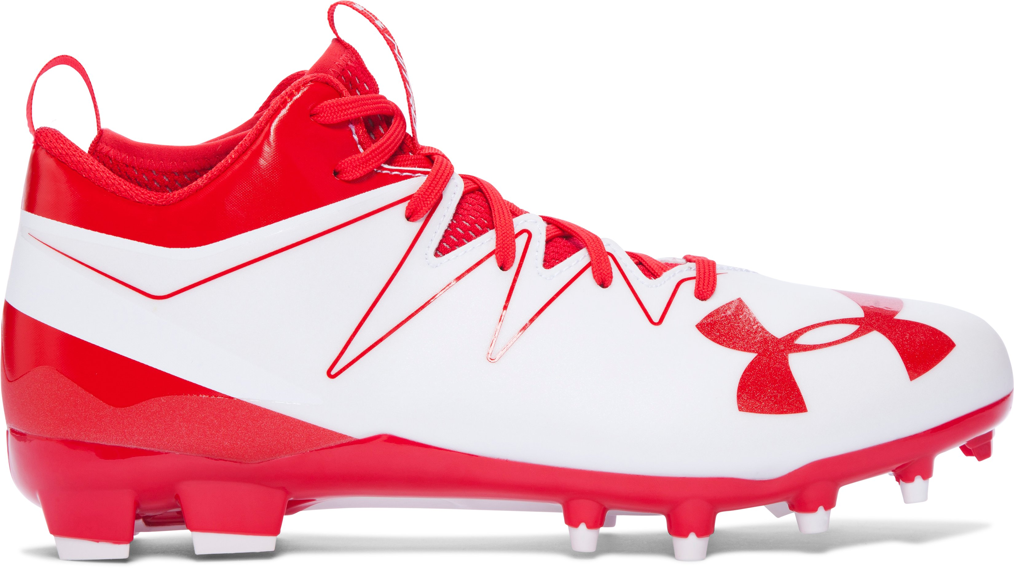 Men's UA Nitro Mid MC Football Cleats, White,