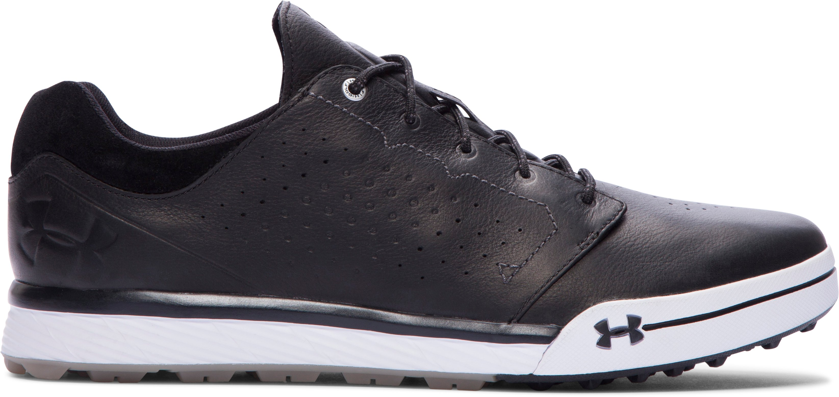 black golf shoes Men's UA Tempo Hybrid Golf Shoes Can't say much for performance as I didn't wear them on the course....First impression, great feeling shoe....Great job UA, keep up the great work and innovation.