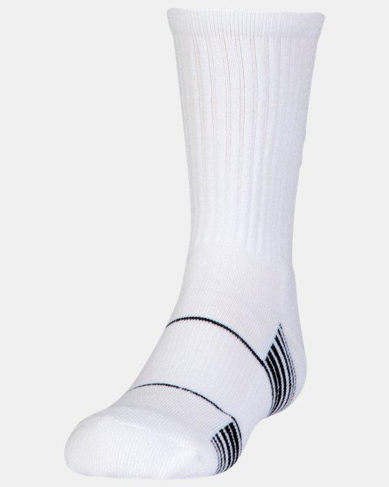 Kids' UA Team Crew Socks, White, pdpMainDesktop image number 0