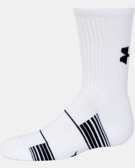 Kids' UA Team Crew Socks, White, pdpMainDesktop image number 3
