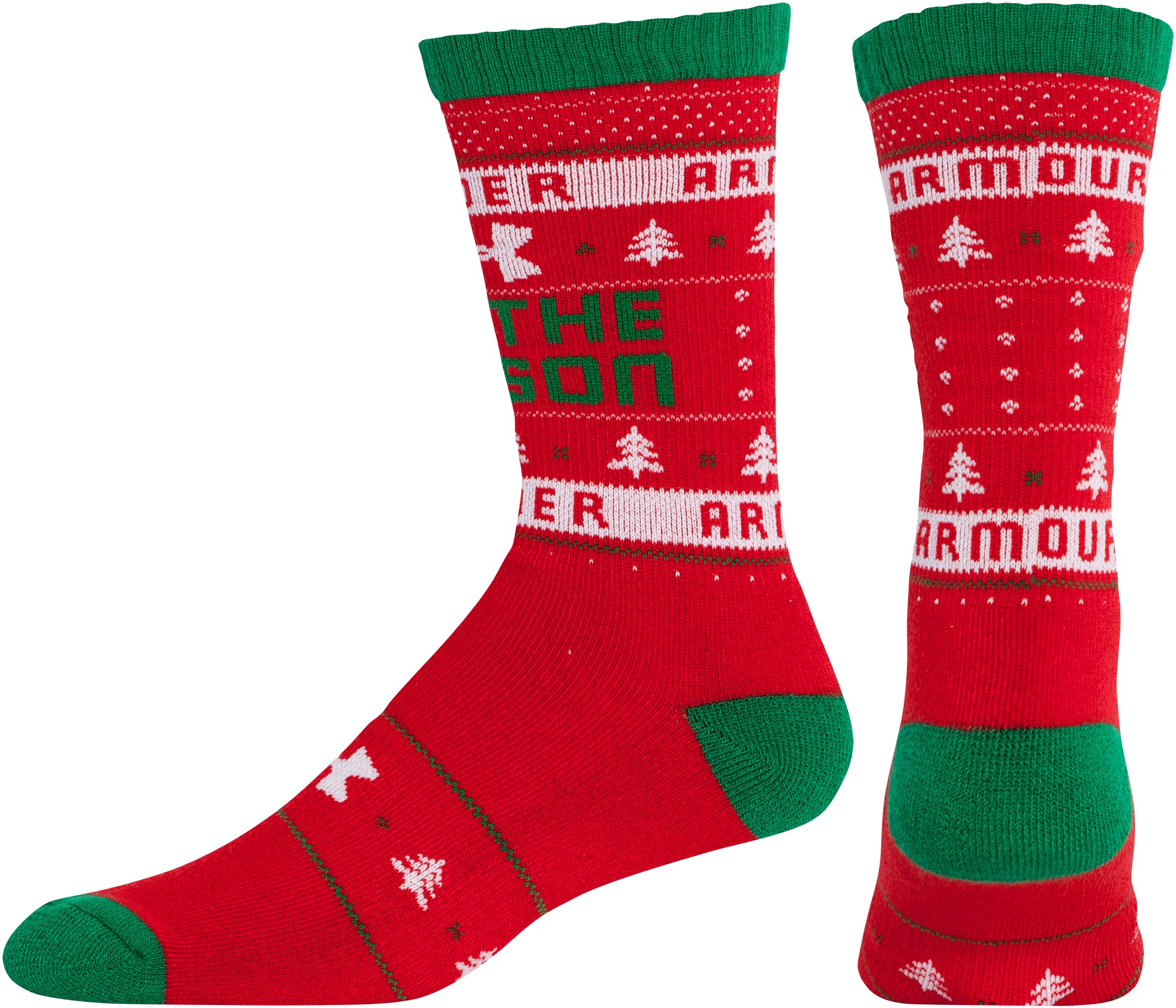 UA Tis The Season Crew Socks, Red