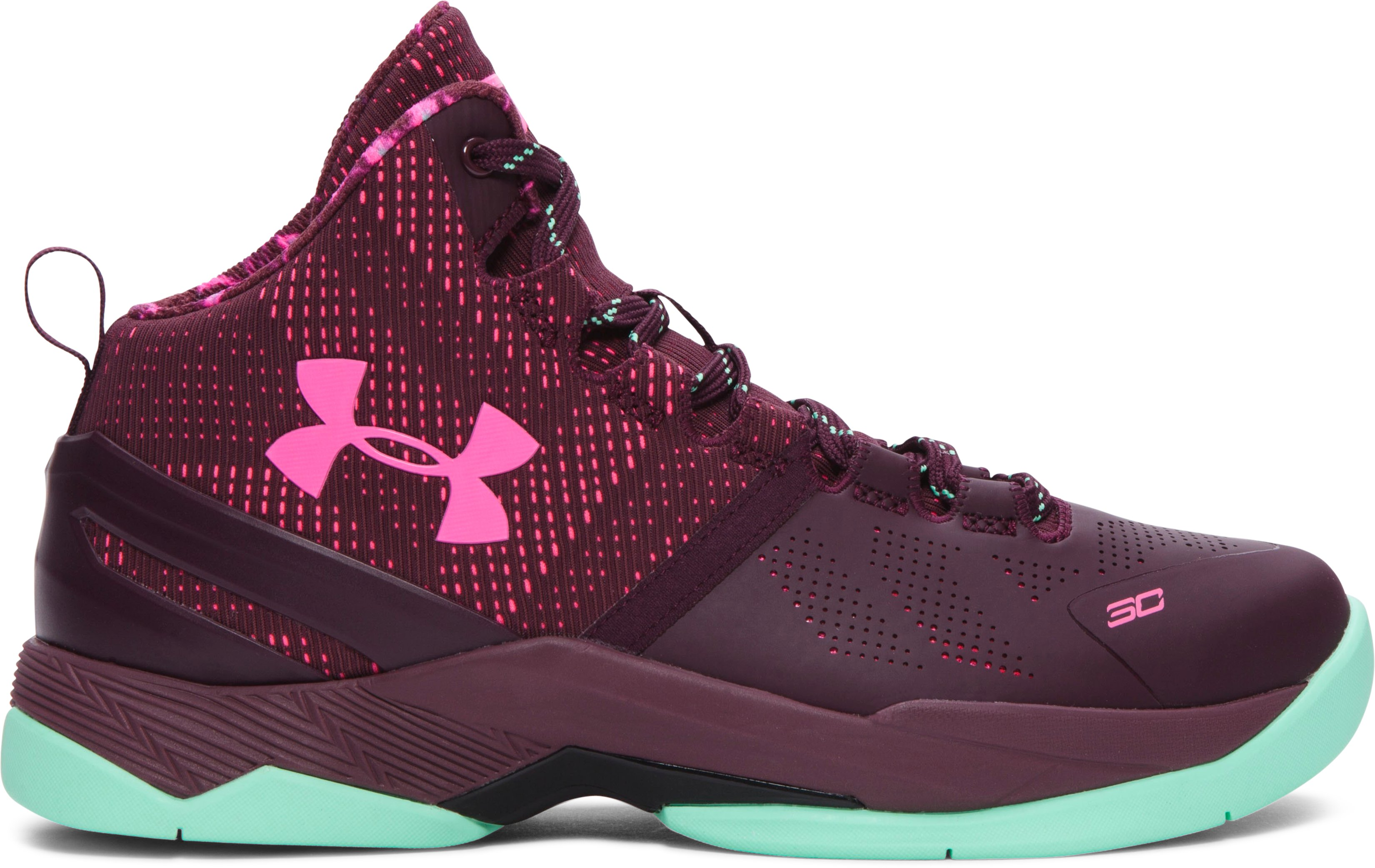 Boys' Grade School UA Curry Two Basketball Shoes, DARK MAROON