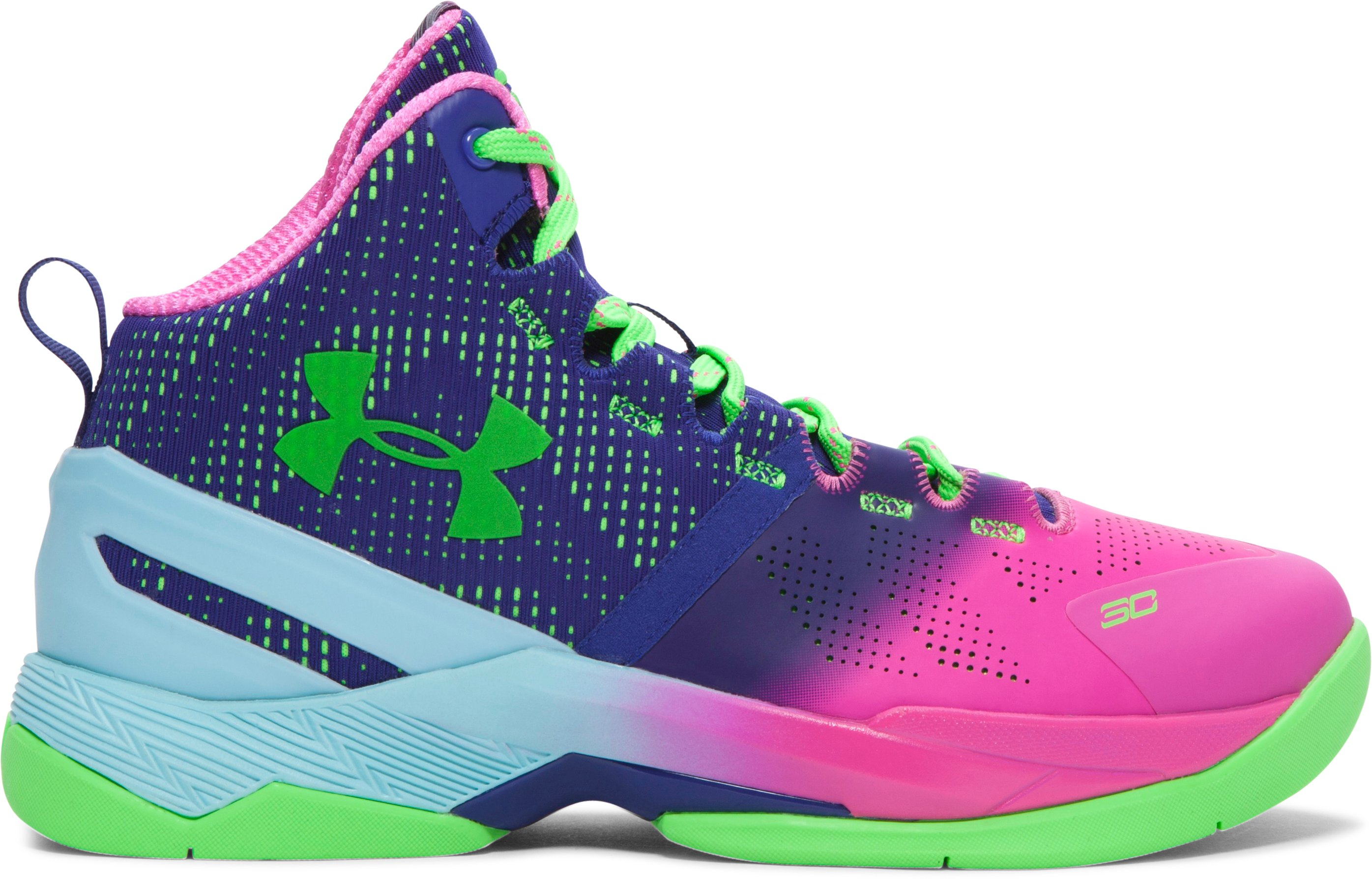 Boys' Grade School UA Curry Two Basketball Shoes, REBEL PINK