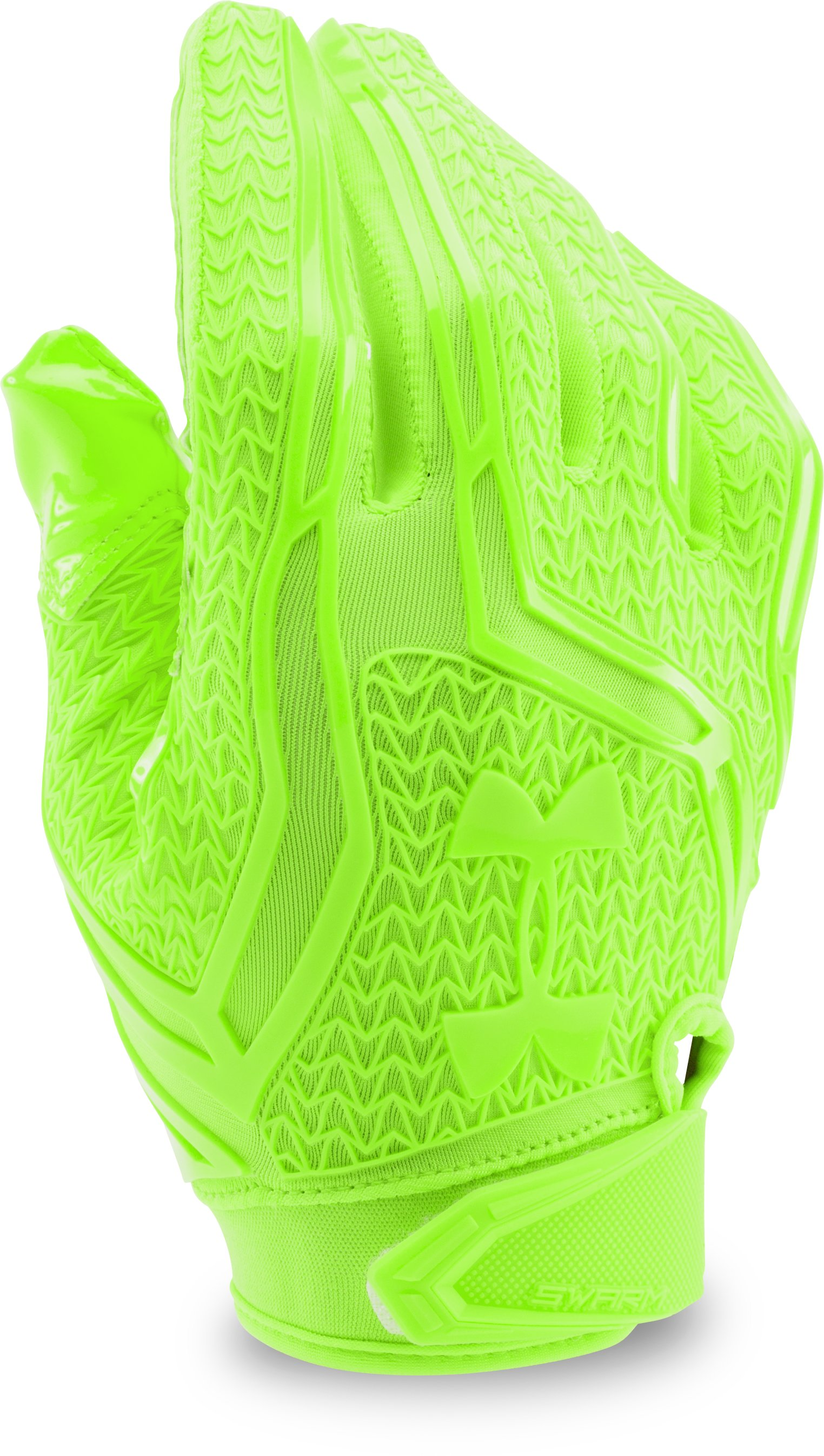 Men's UA Swarm II Football Gloves, HYPER GREEN