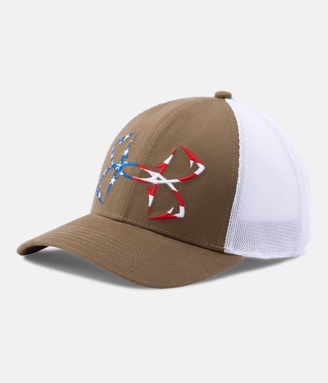 Men 39 s ua fish hook big logo mesh cap under armour us for Under armour fish hook hat
