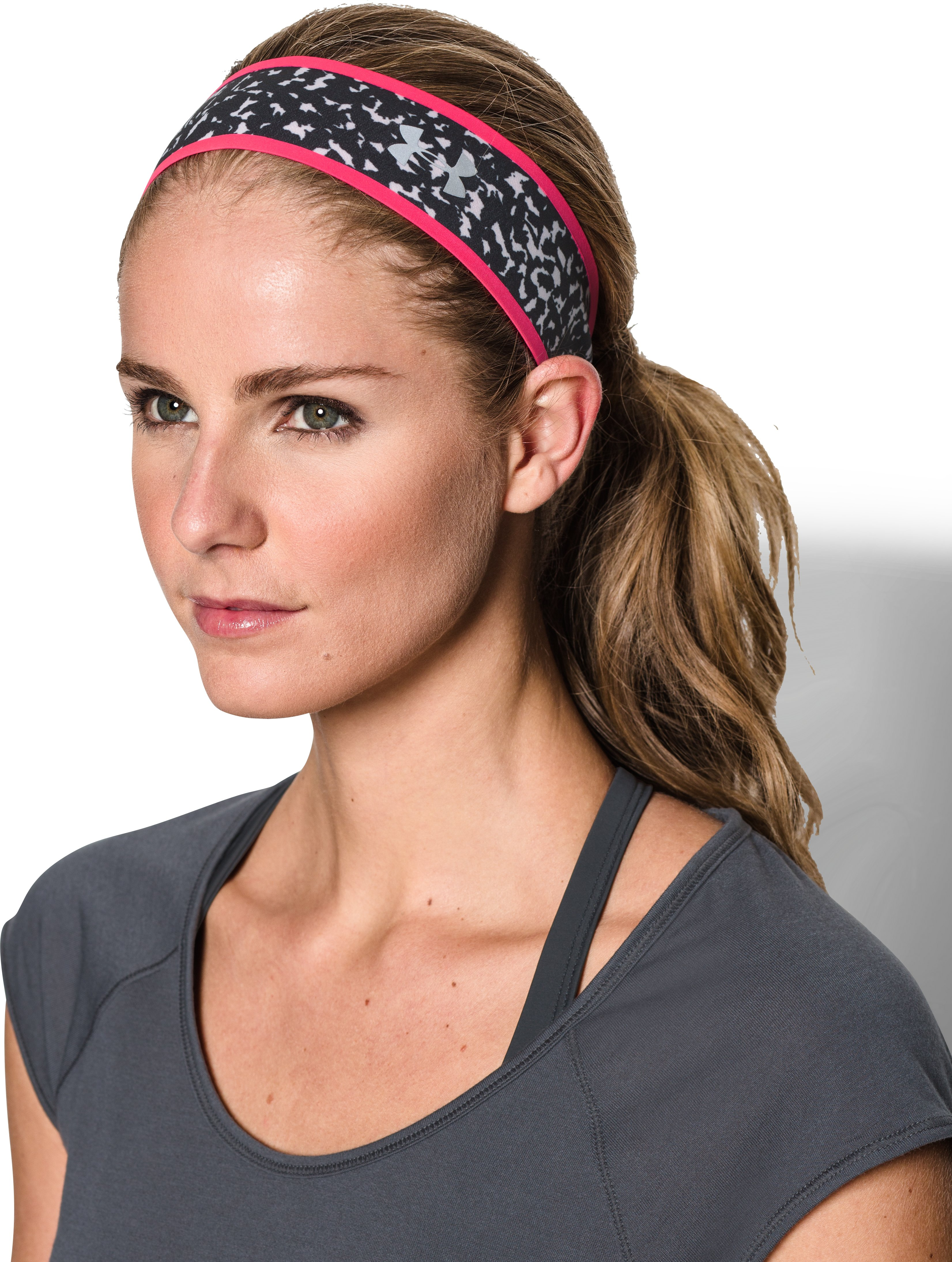 Women's UA Fly Fast Reversible Headband, HARMONY RED,