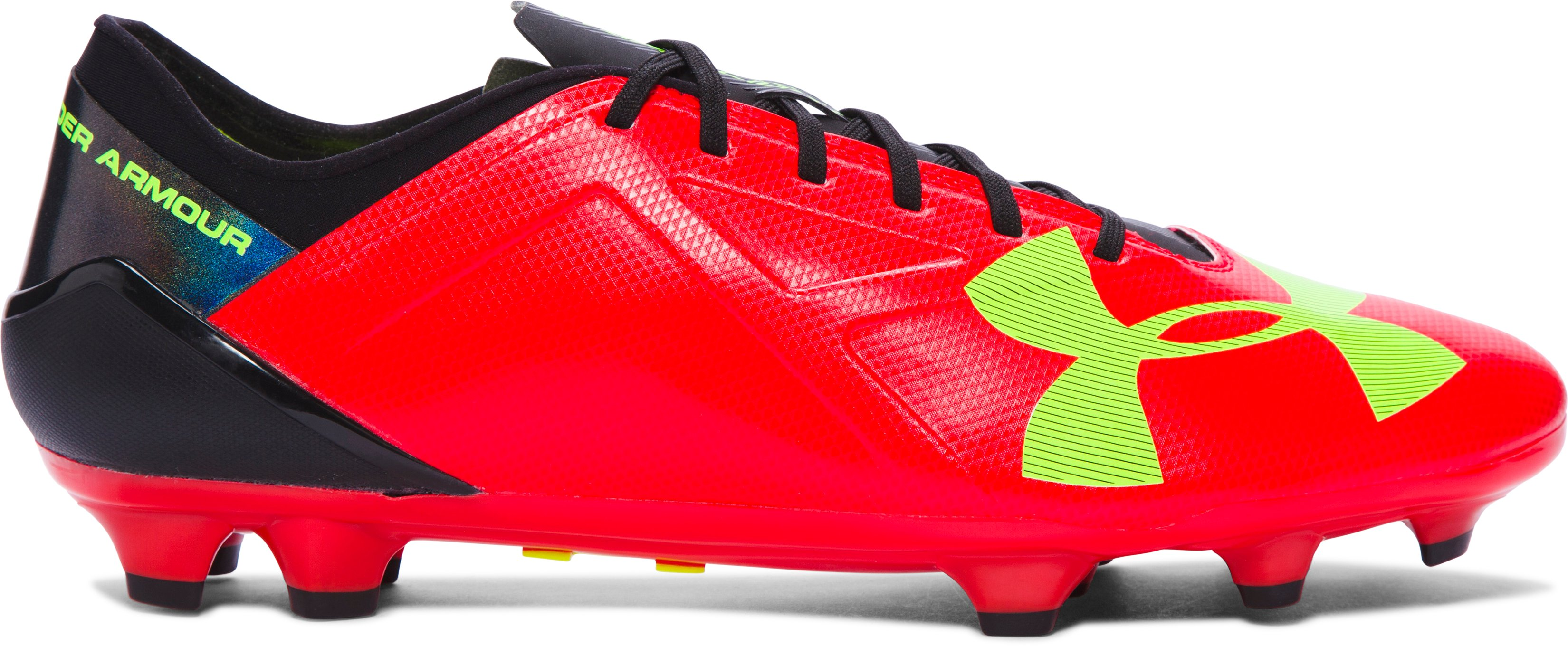 Men's UA Spotlight BL FG Soccer Cleats, ROCKET RED, zoomed image