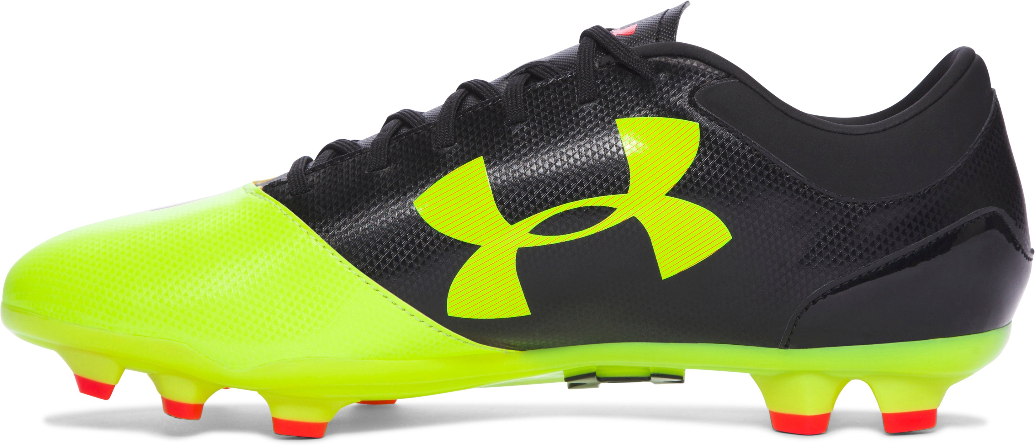 Men's UA Spotlight DL FG Soccer Cleats, High-Vis Yellow, undefined