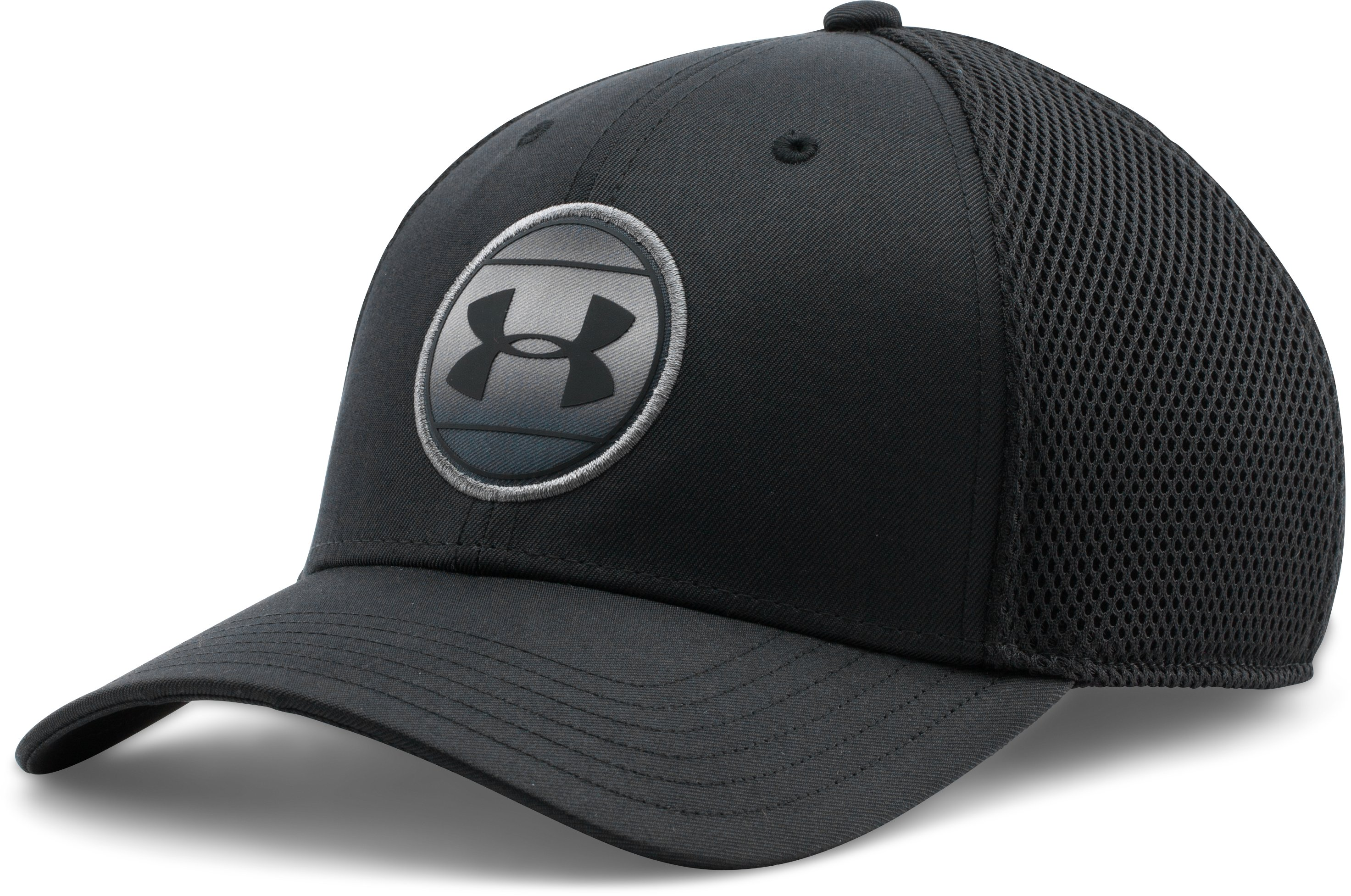 Men's UA Mesh Stretch Fit Cap, Black , undefined