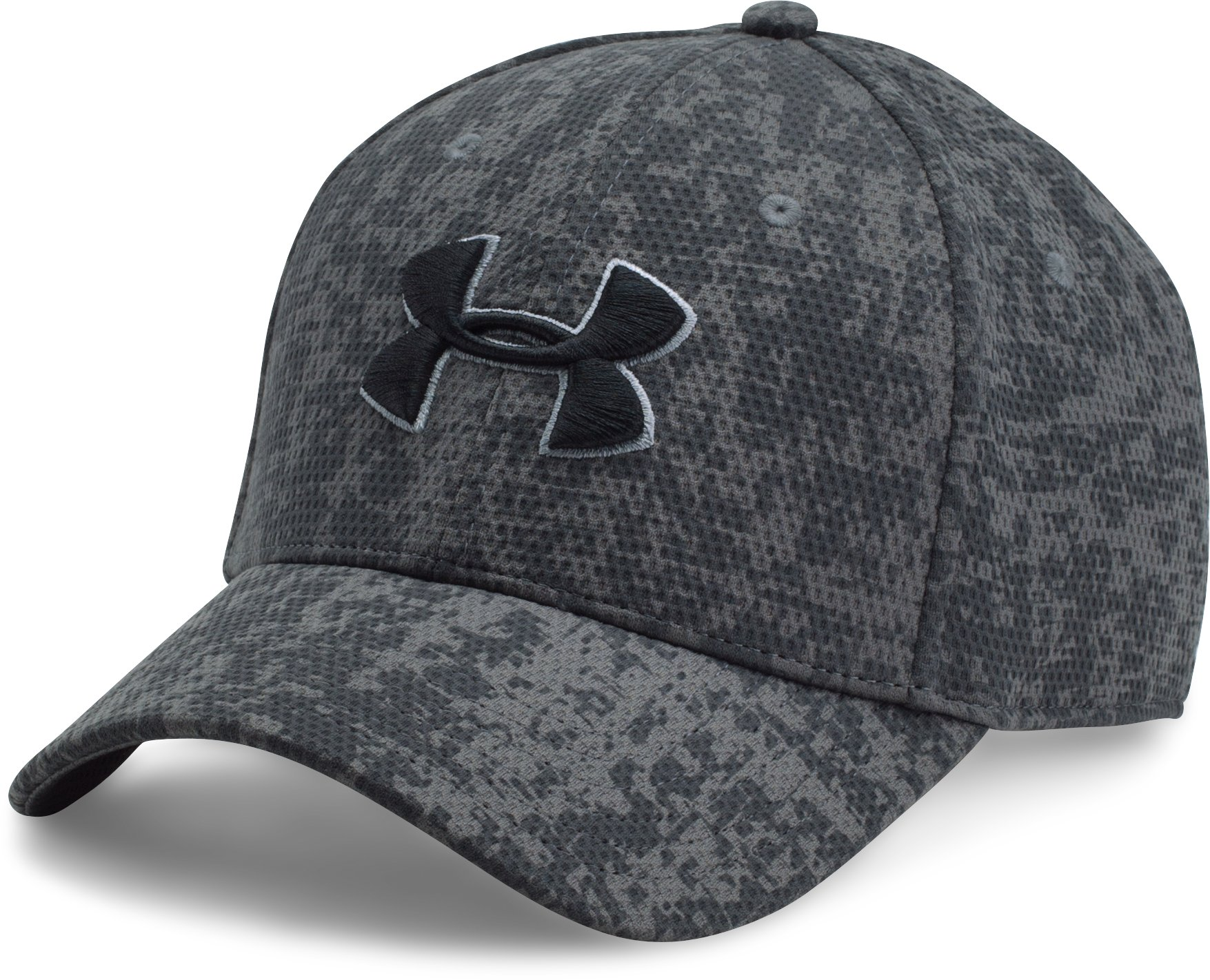 Men's UA Printed Blitzing Stretch Fit Cap, Graphite, zoomed image