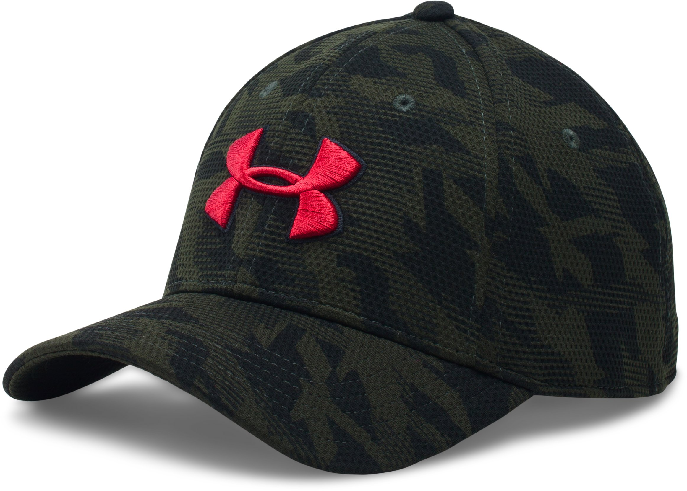 Men's UA Printed Blitzing Stretch Fit Cap, Artillery Green, zoomed image