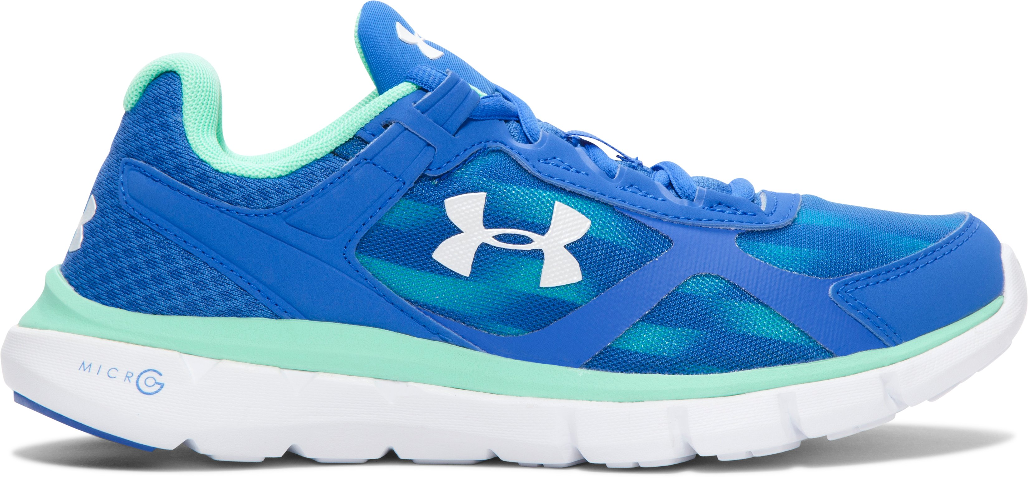 Women's UA Micro G® Velocity Graphic Running Shoes, ULTRA BLUE, undefined