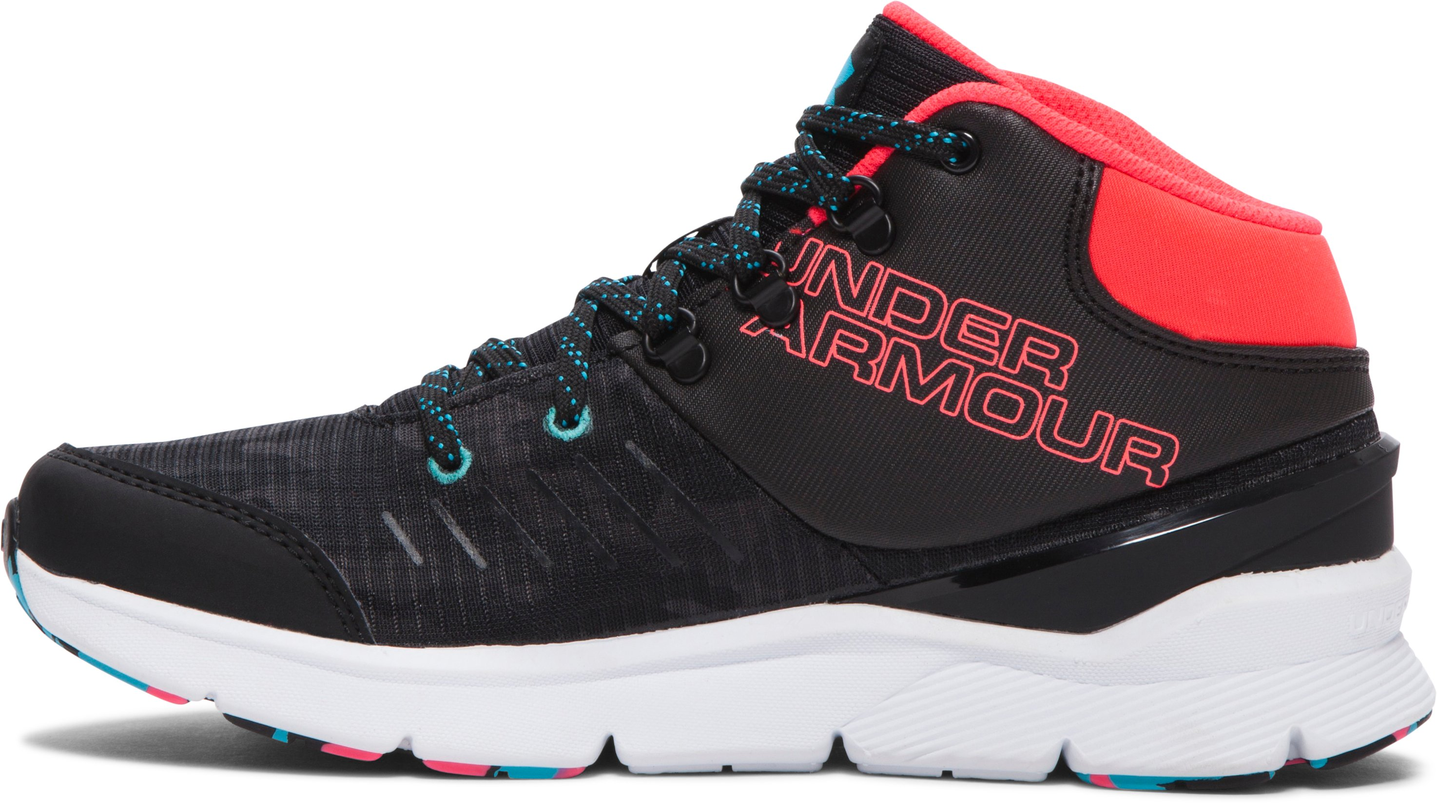 Girls' UA Overdrive Mid Grit Shoes, Black , undefined