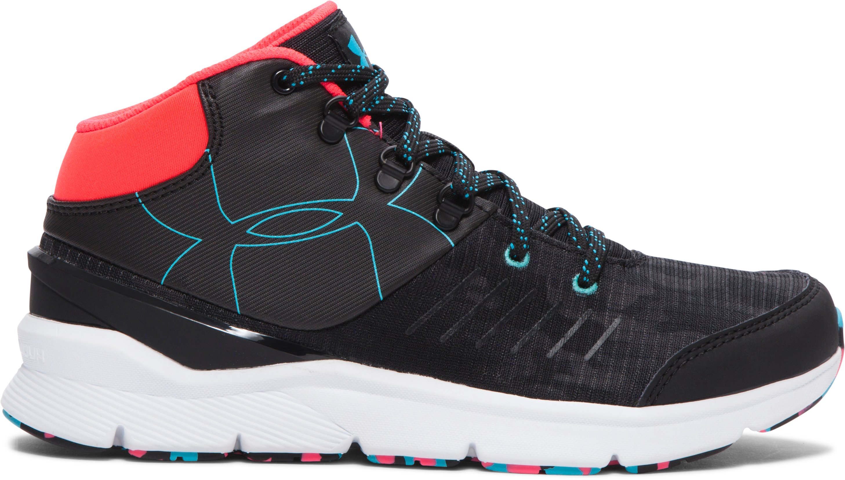 Girls' UA Overdrive Mid Grit Shoes, Black ,