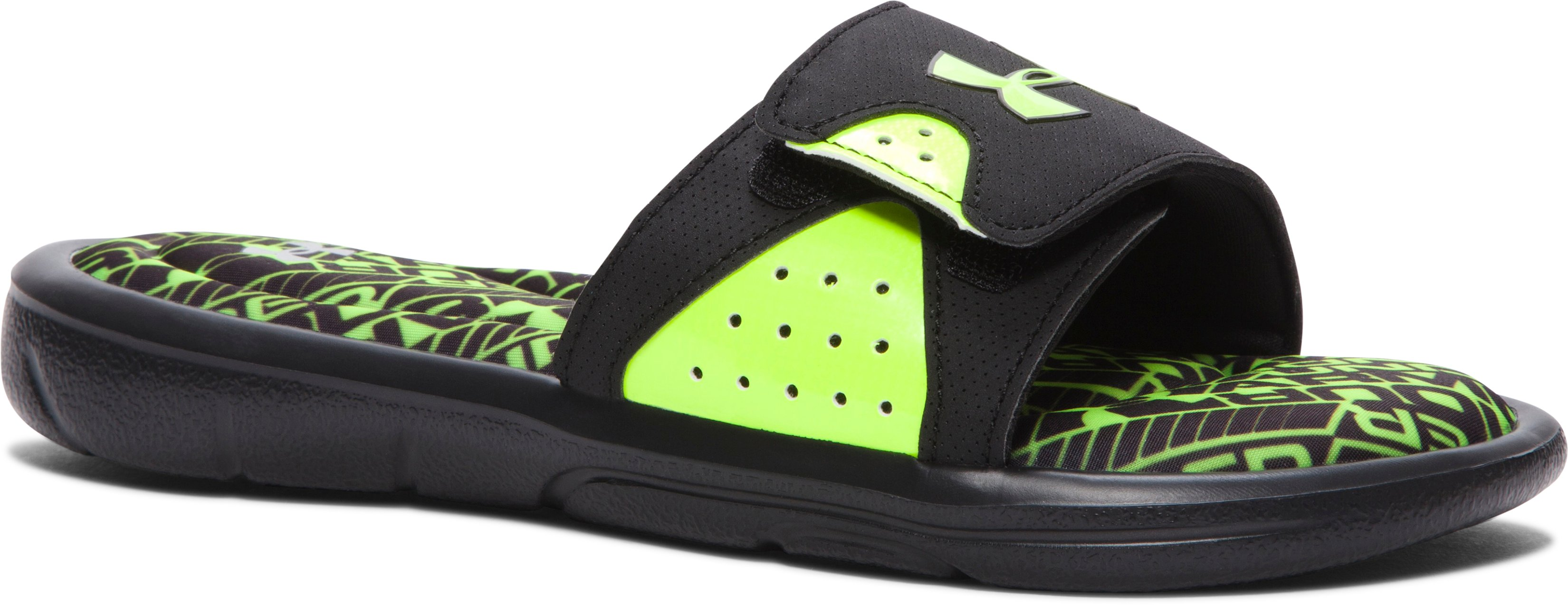 Boys' UA Ignite Velocity Slides, Black ,