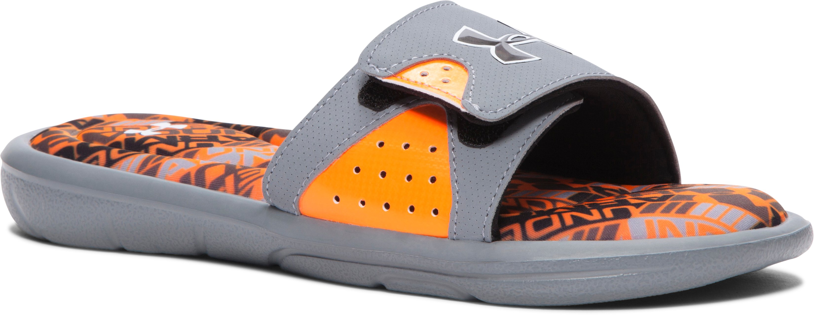 Boys' UA Ignite Velocity Slides, Steel, zoomed image