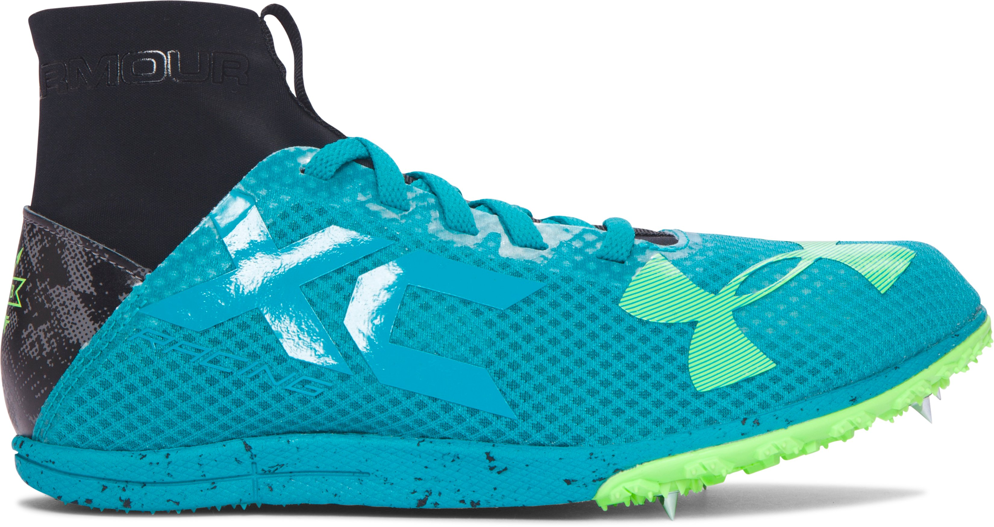 UA Charged Bandit XC Spike Running Shoes, TAHITIAN TEAL, zoomed image
