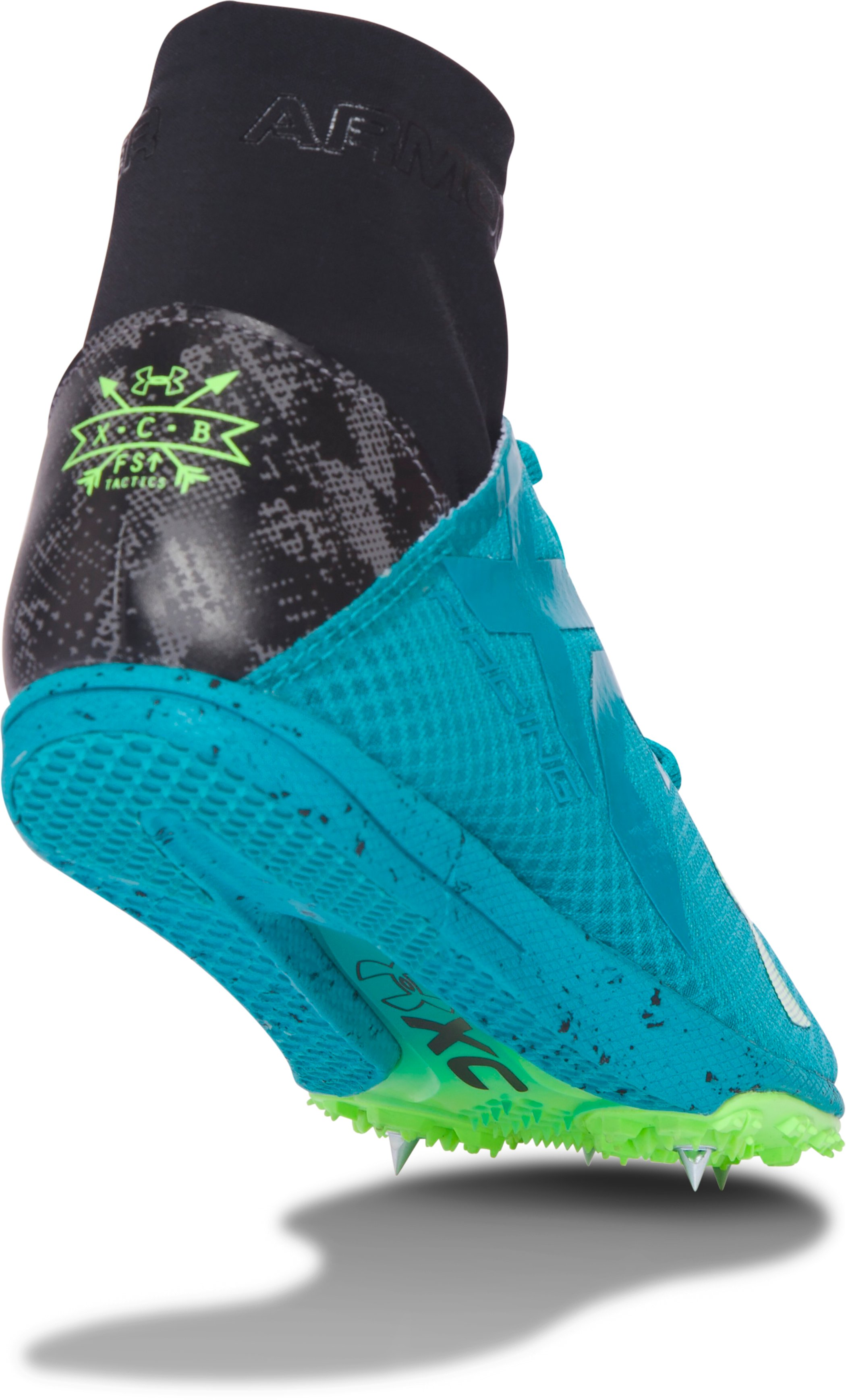 UA Charged Bandit XC Spike Running Shoes, TAHITIAN TEAL