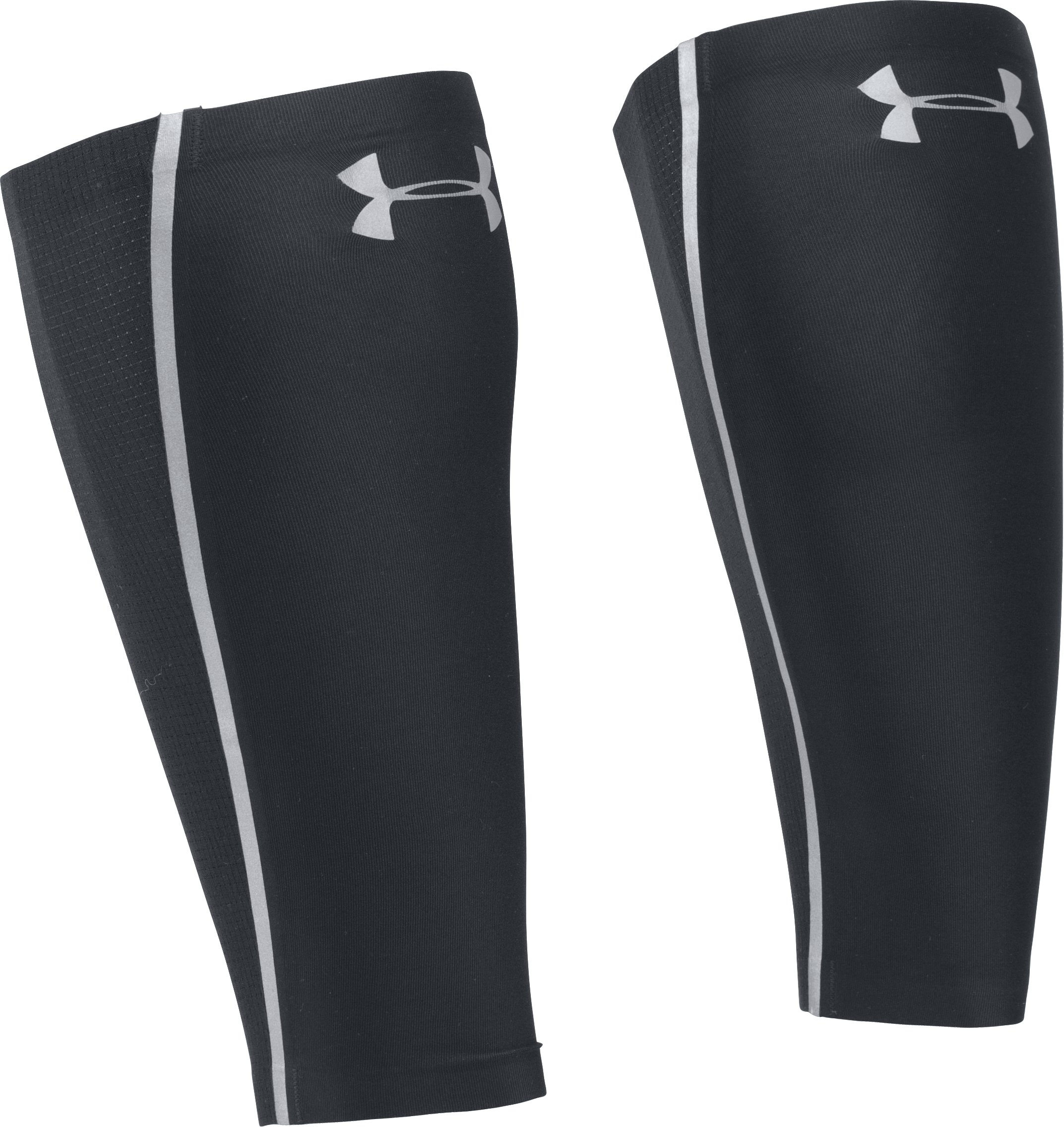 Men's UA Run Reflective CoolSwitch Calf Sleeves, Black , zoomed image