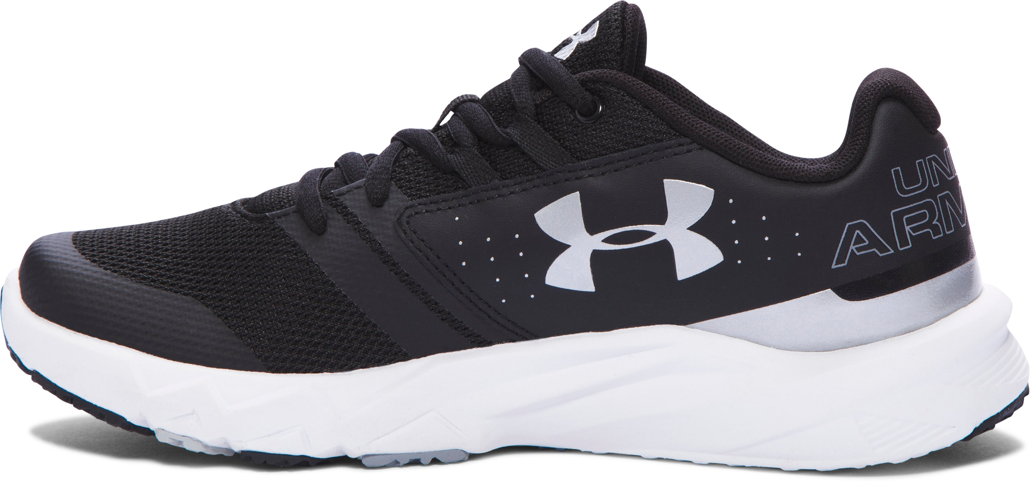 Boys' Grade School UA Primed Running Shoes, Black , undefined