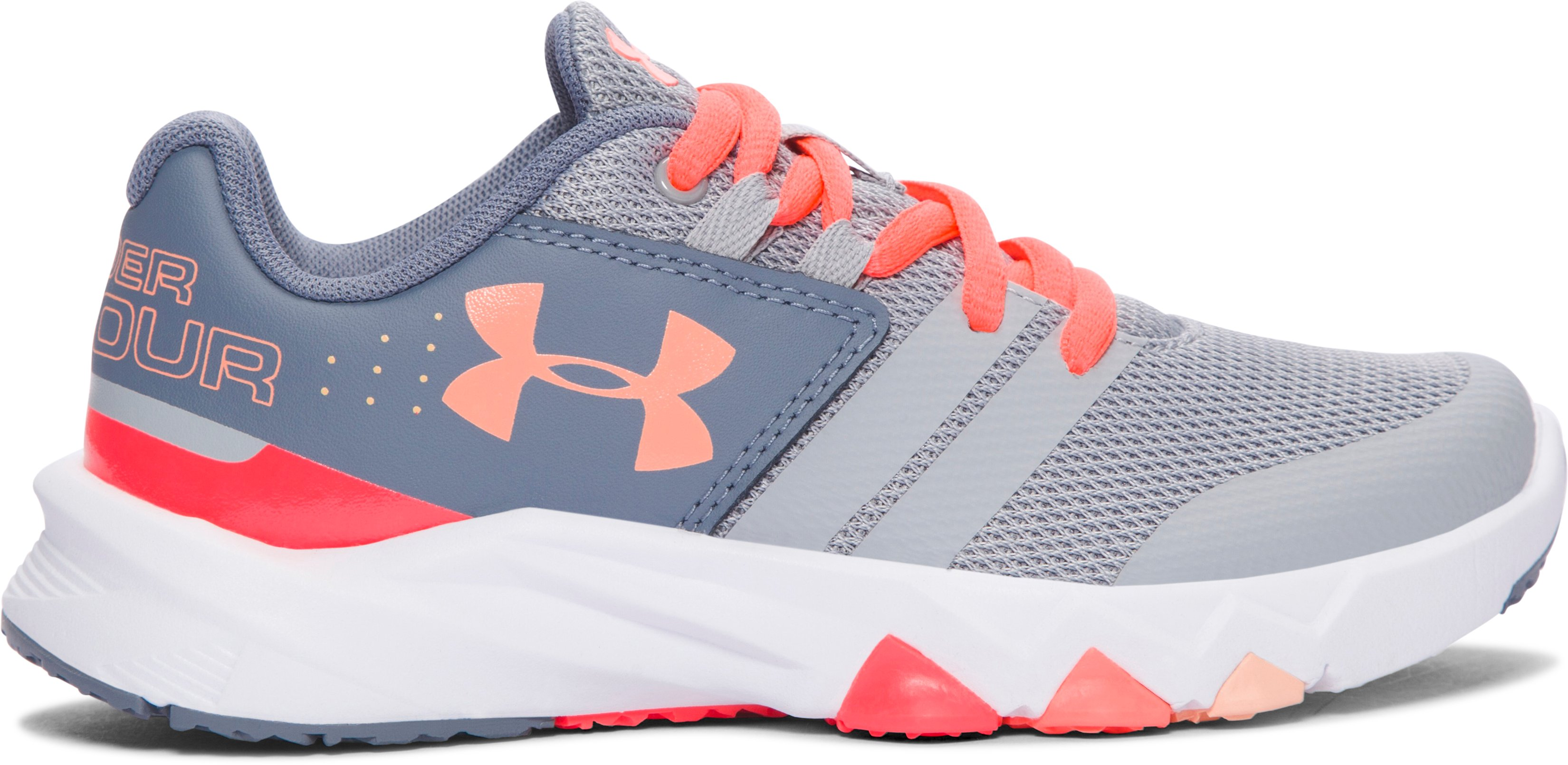 Girls' Pre-School UA Primed Running Shoes, OVERCAST GRAY, zoomed image