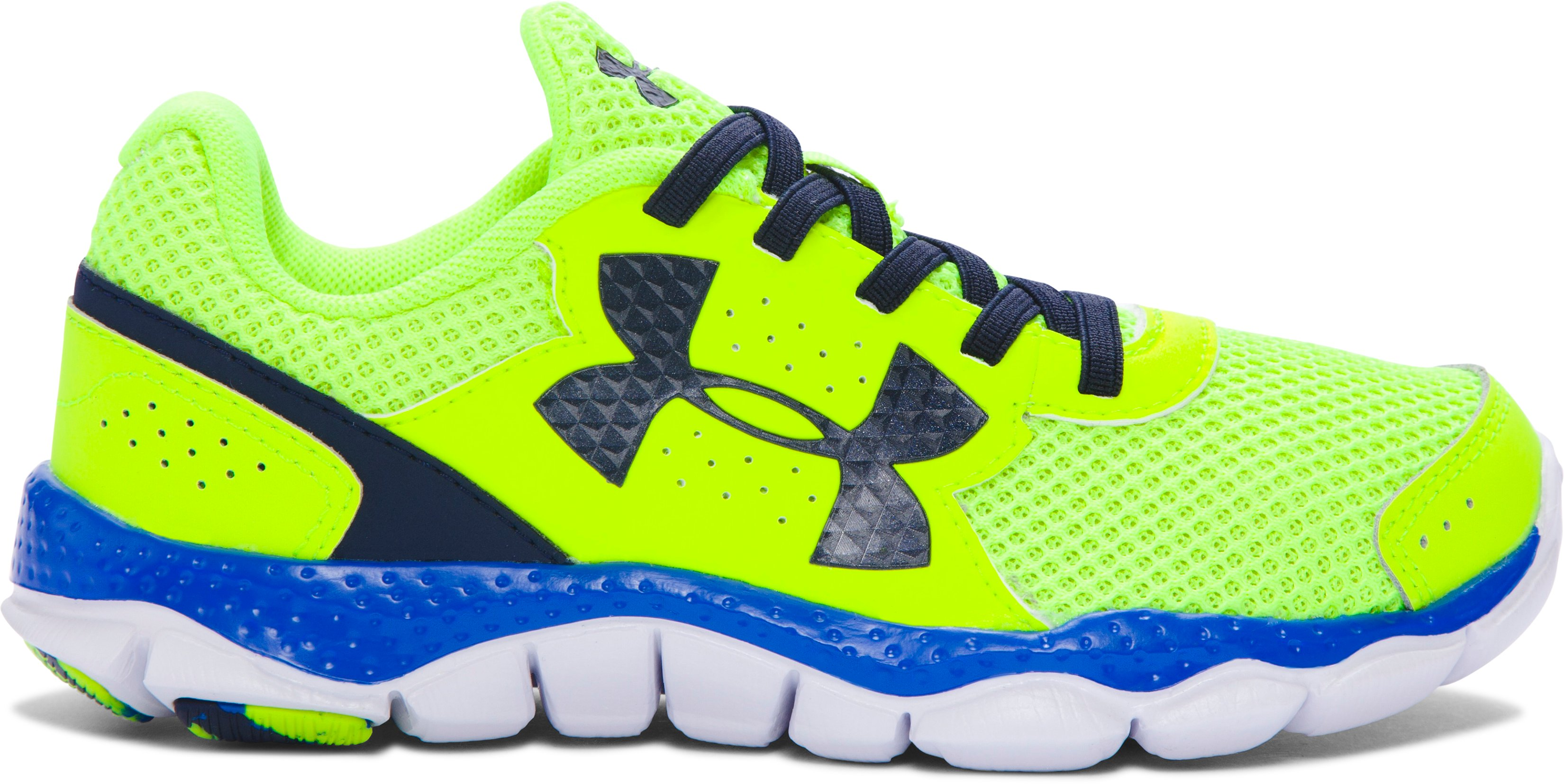 Boys' Pre-School UA Engage 3 Big Logo Running Shoes, High-Vis Yellow, undefined
