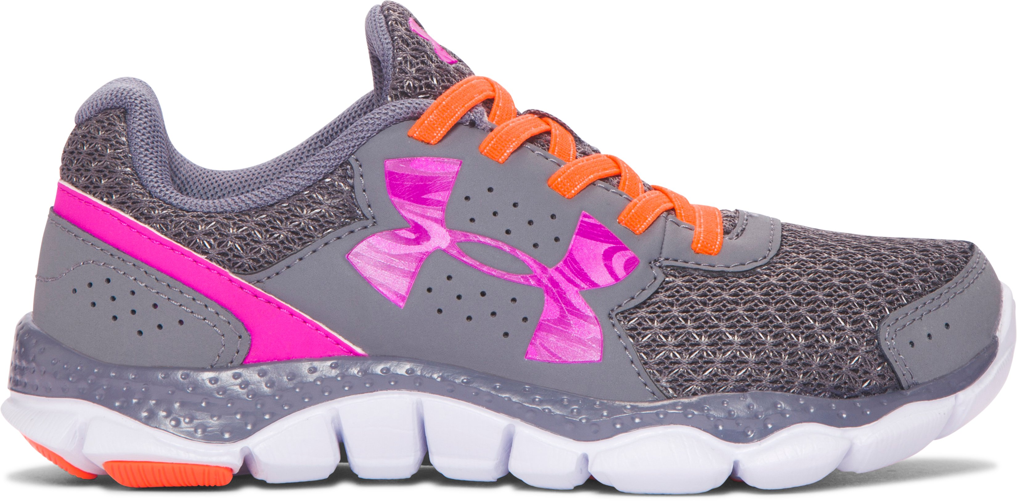 Girls' Pre-School UA Engage 3 Big Logo AL Running Shoes, Graphite, zoomed image
