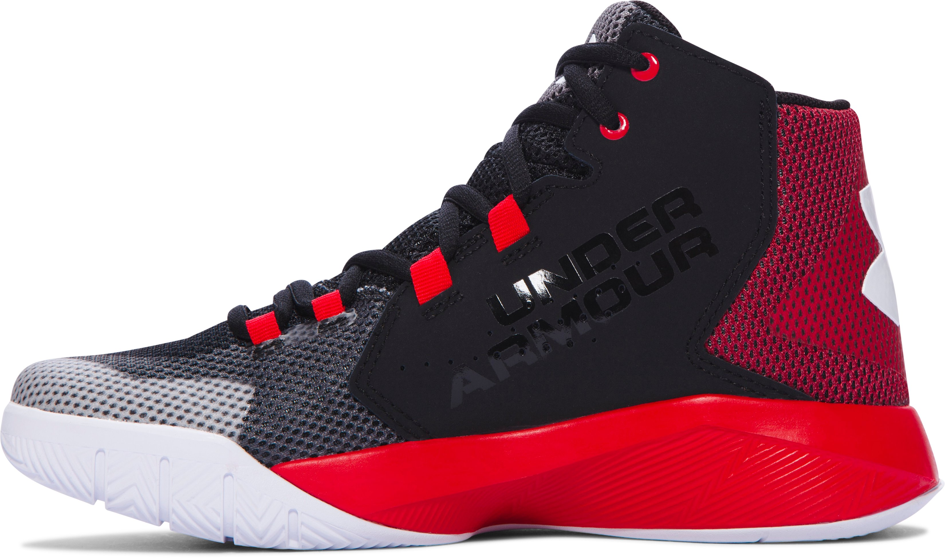Boys' Grade School UA Torch Fade Basketball Shoes, Black ,