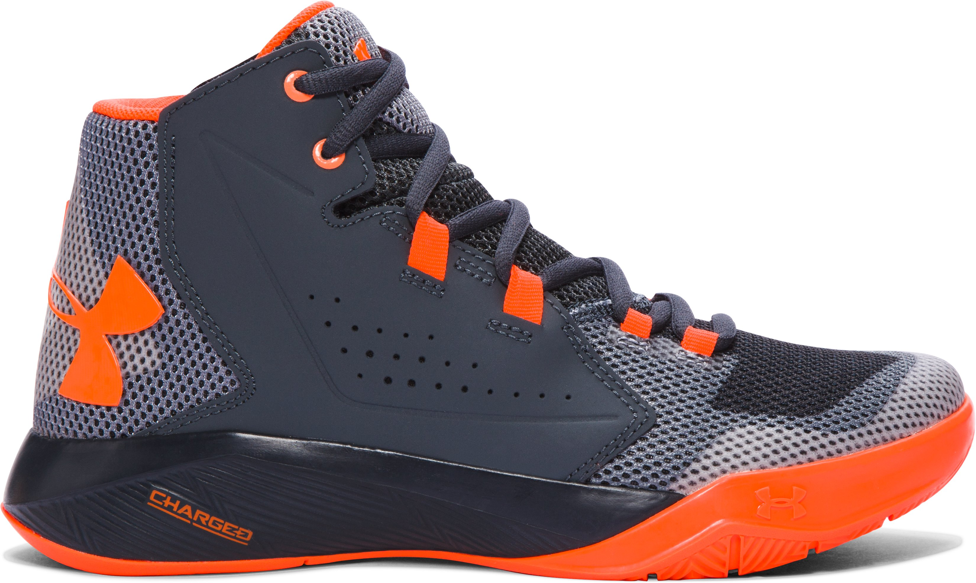 Boys' Grade School UA Torch Fade Basketball Shoes, STEALTH GRAY, undefined