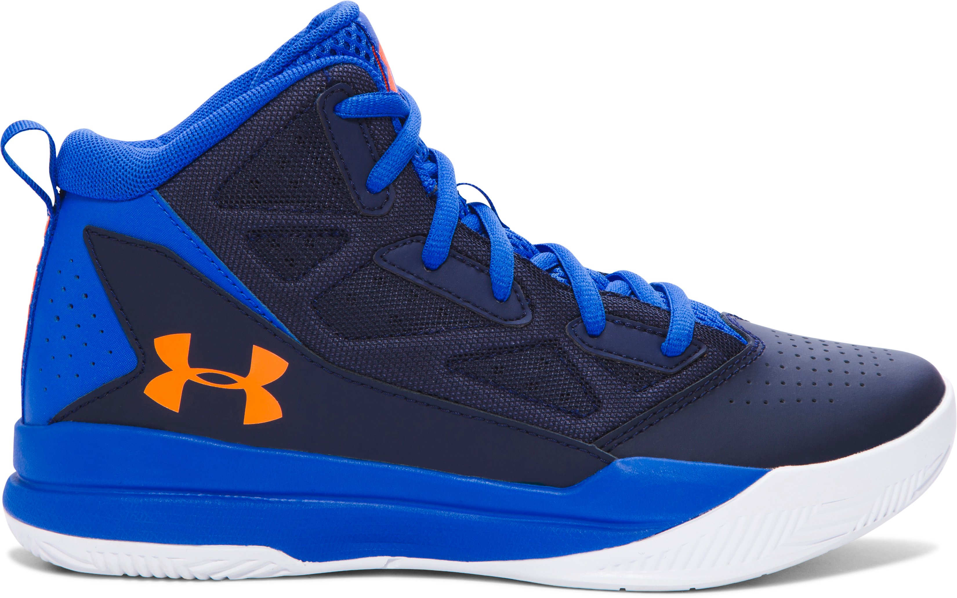 Boys' Grade School UA Jet Mid Basketball Shoes, ULTRA BLUE, undefined