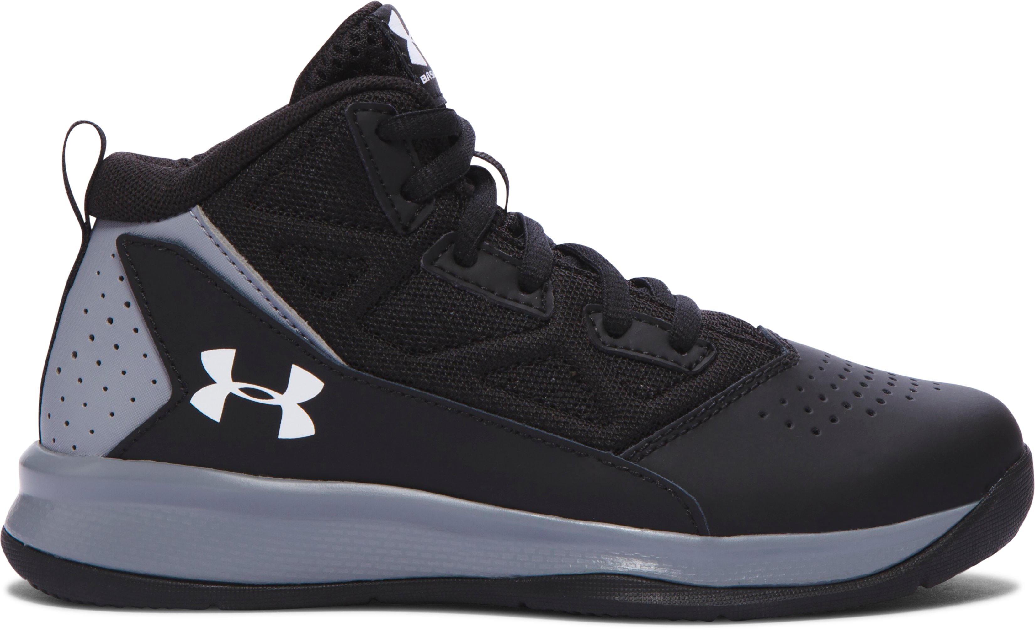 Boys' Pre-School UA Jet Mid Basketball Shoes, Black ,