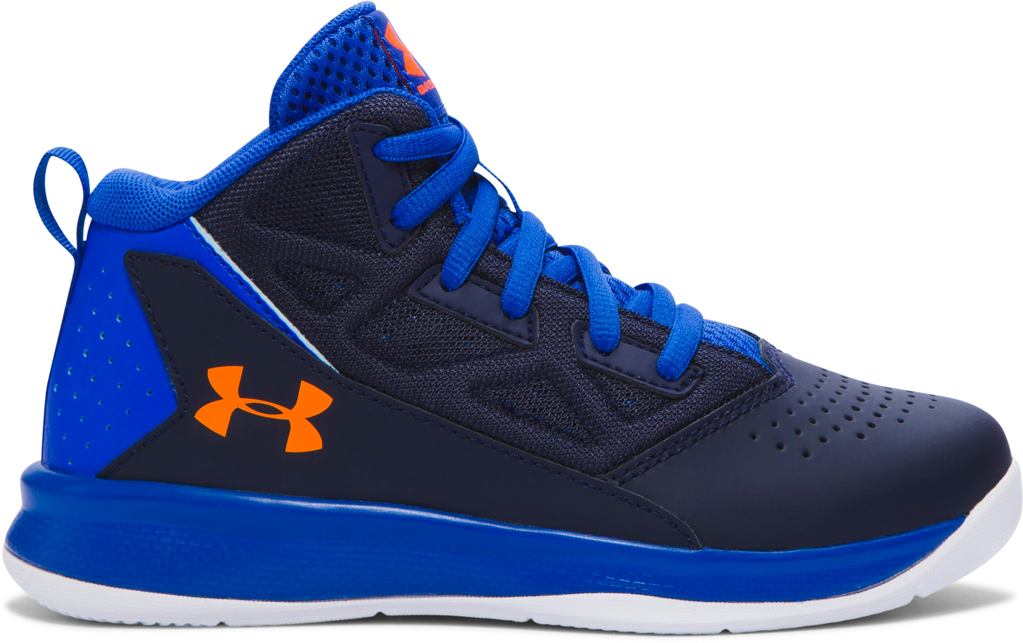 Boys' Pre-School UA Jet Mid Basketball Shoes, ULTRA BLUE, zoomed image