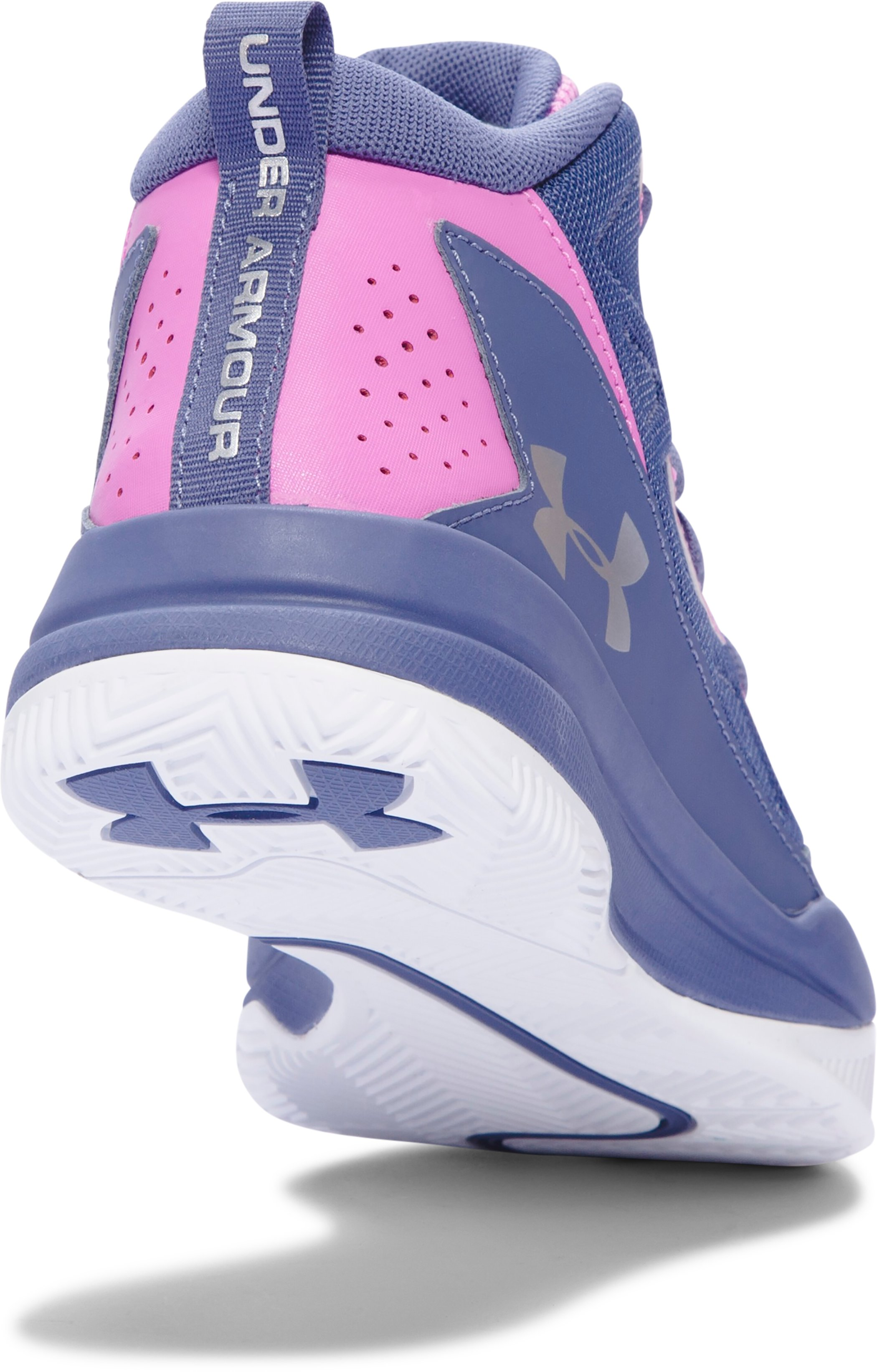 Girls' Grade School UA Jet Mid Basketball Shoes, AURORA PURPLE