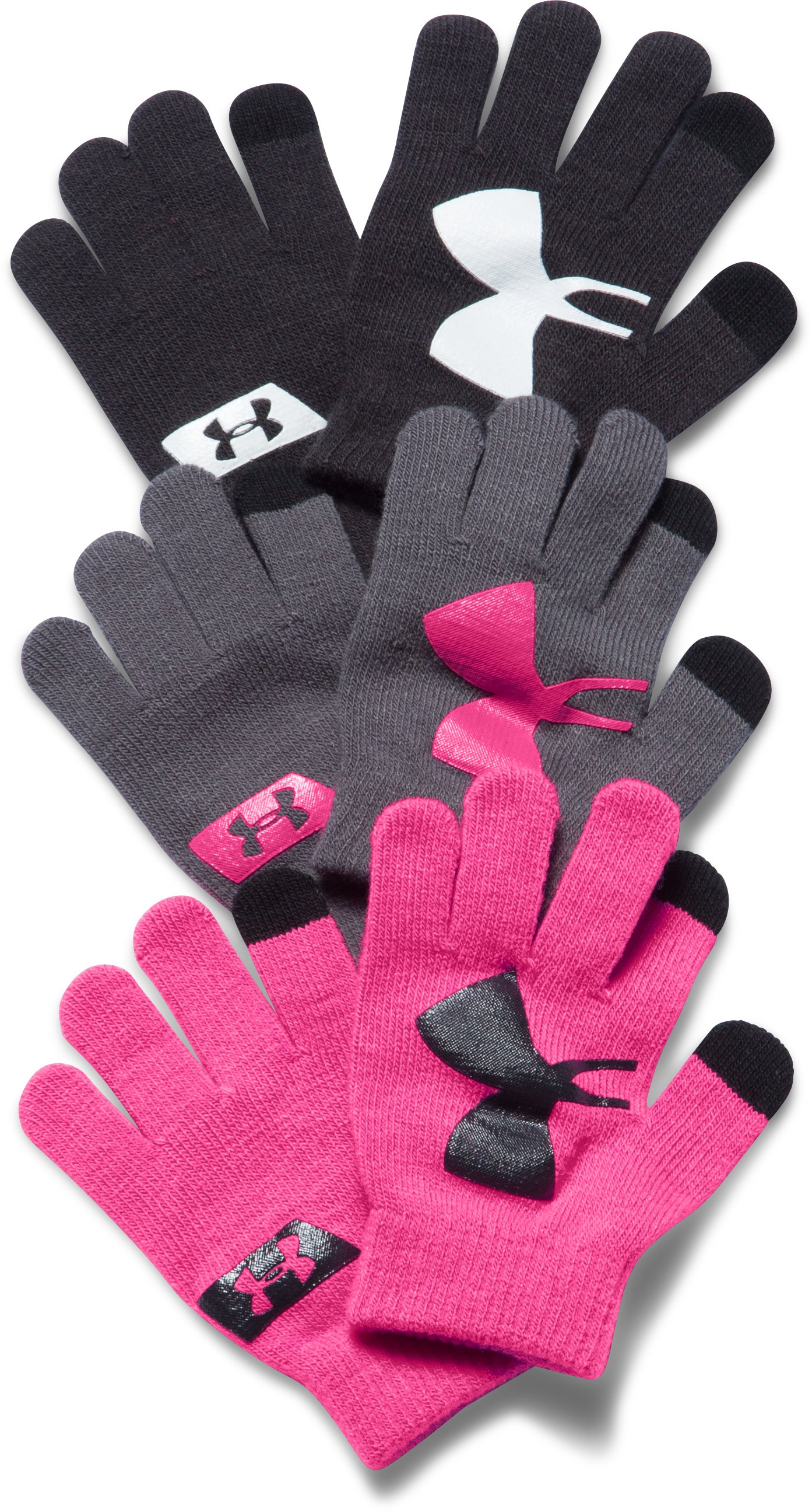 Girls' UA Chillz Stripe Gloves 3-Pack, Black