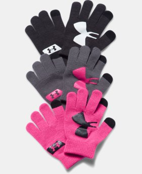 Girls' UA Chillz Stripe Gloves 3-Pack
