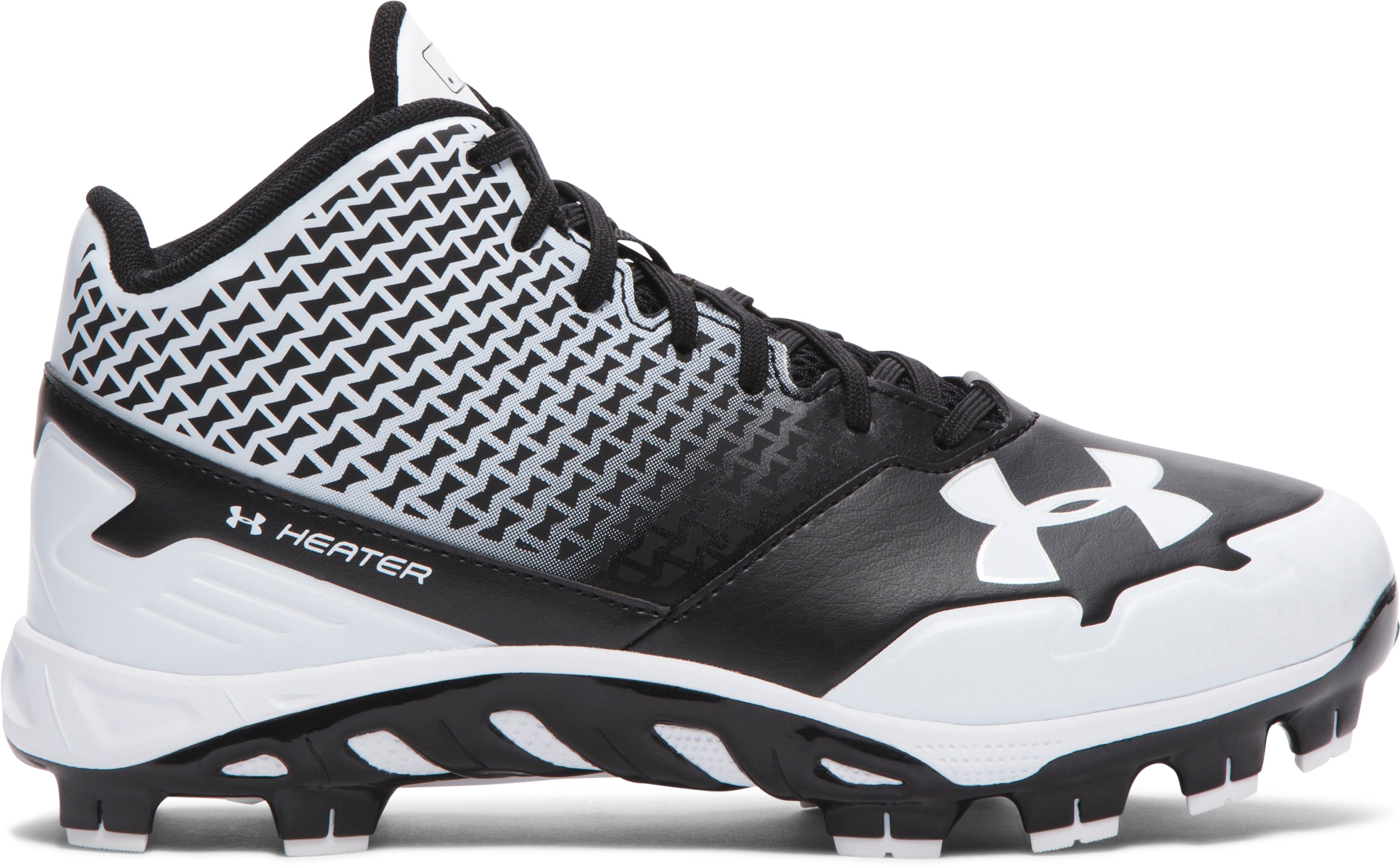 Boys' UA Spine Heater Mid TPU Jr. Baseball Cleats, Black ,