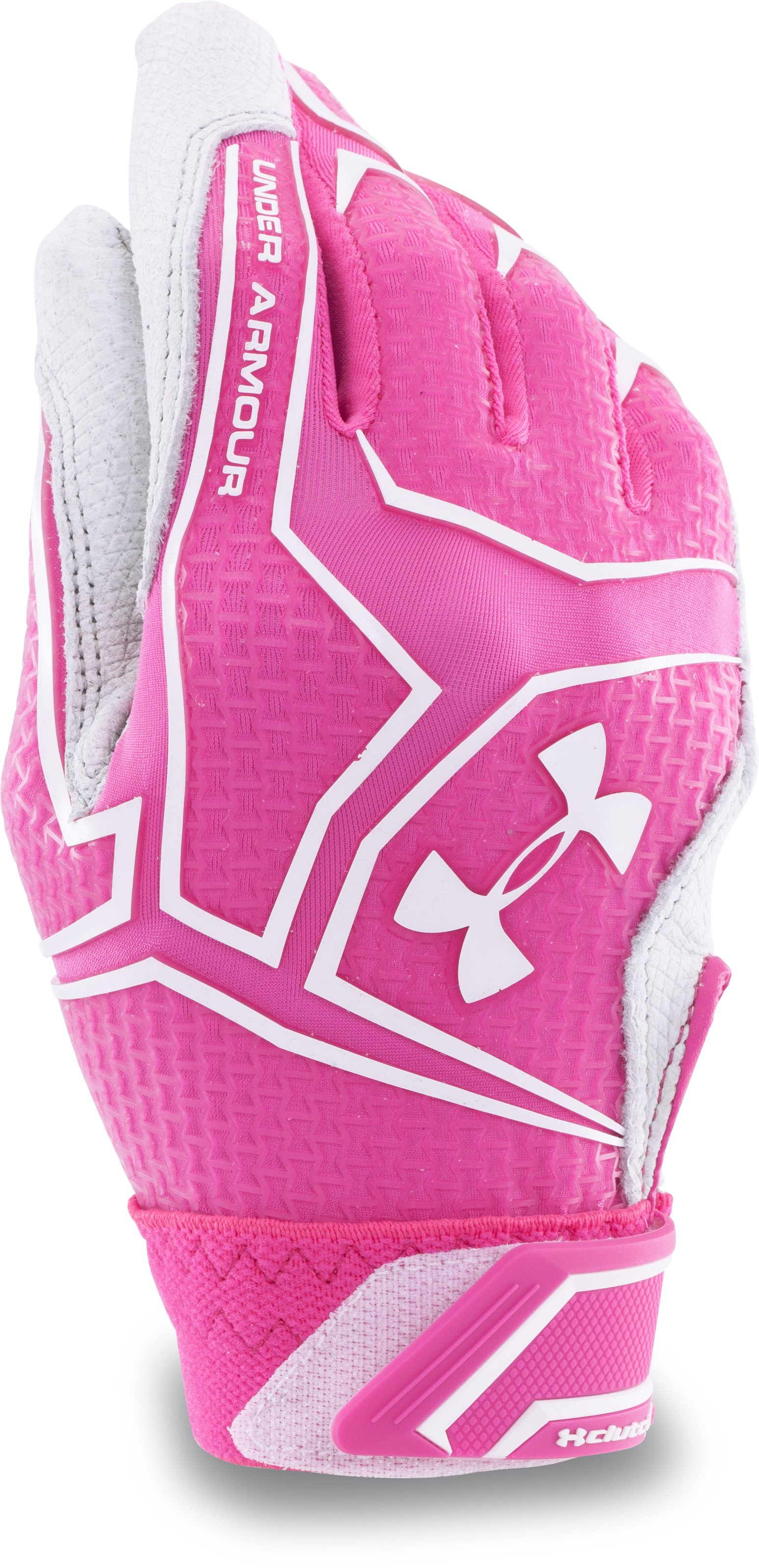 Women's UA ClutchFit™ Fastpitch Batting Gloves, REBEL PINK, undefined