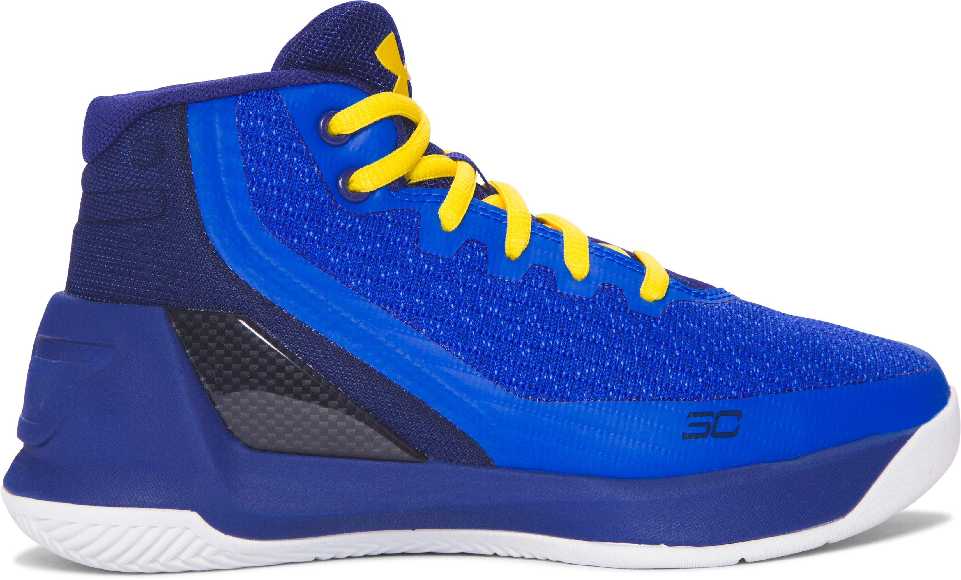 Pre-School UA Curry 3 Basketball Shoes, Dub Nation Heritage